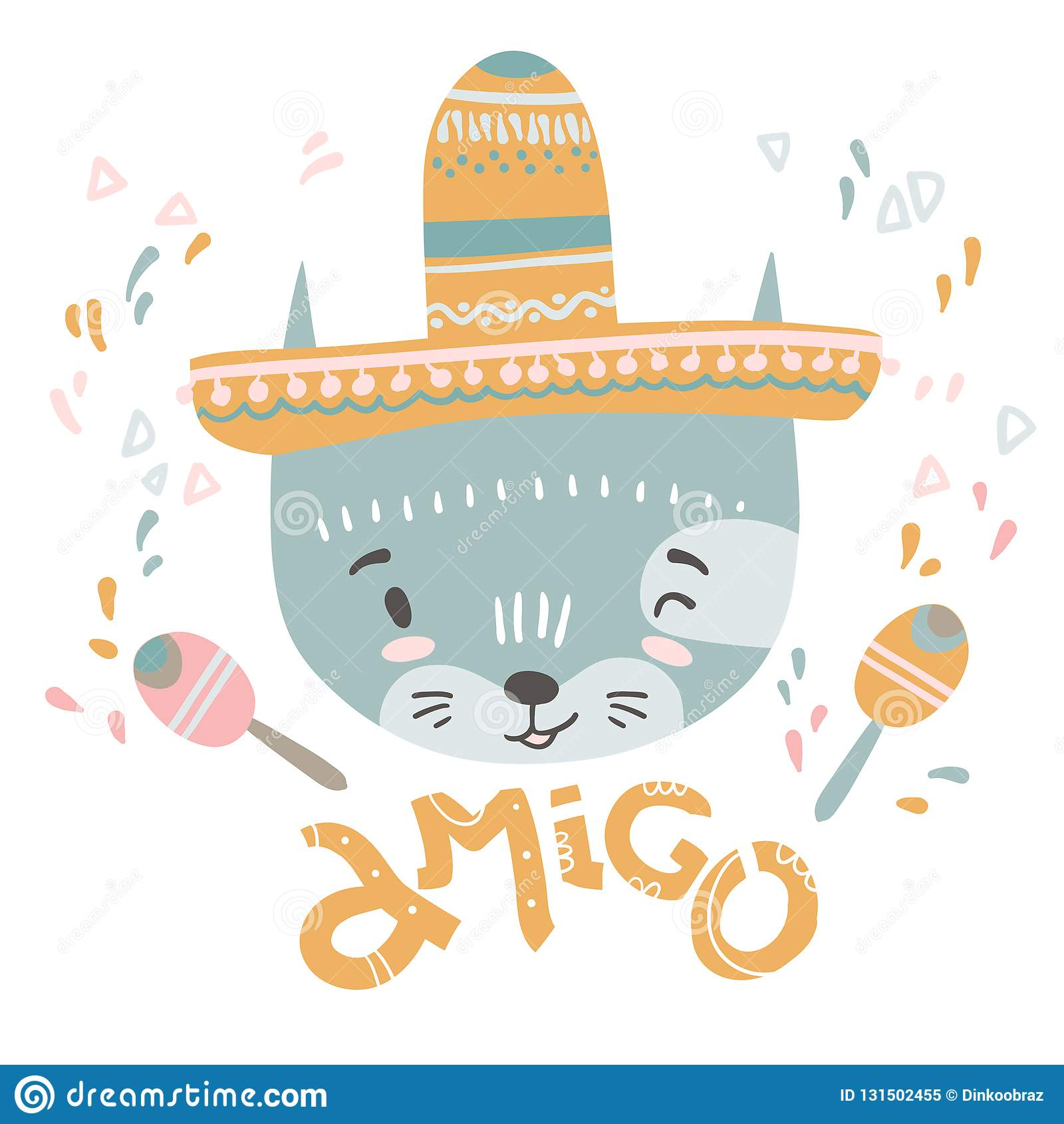 c0cf9730b Gato mexicano lindo del bebé Ilustración drenada mano del vector Para el  diseño del niño o de la camisa del bebé