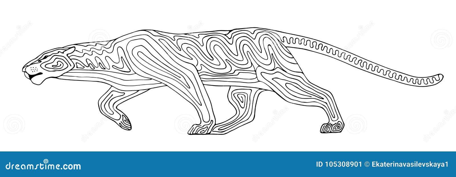 Gato Montés Estilizado Decorativo De La Pantera Animal Salvaje Del ...