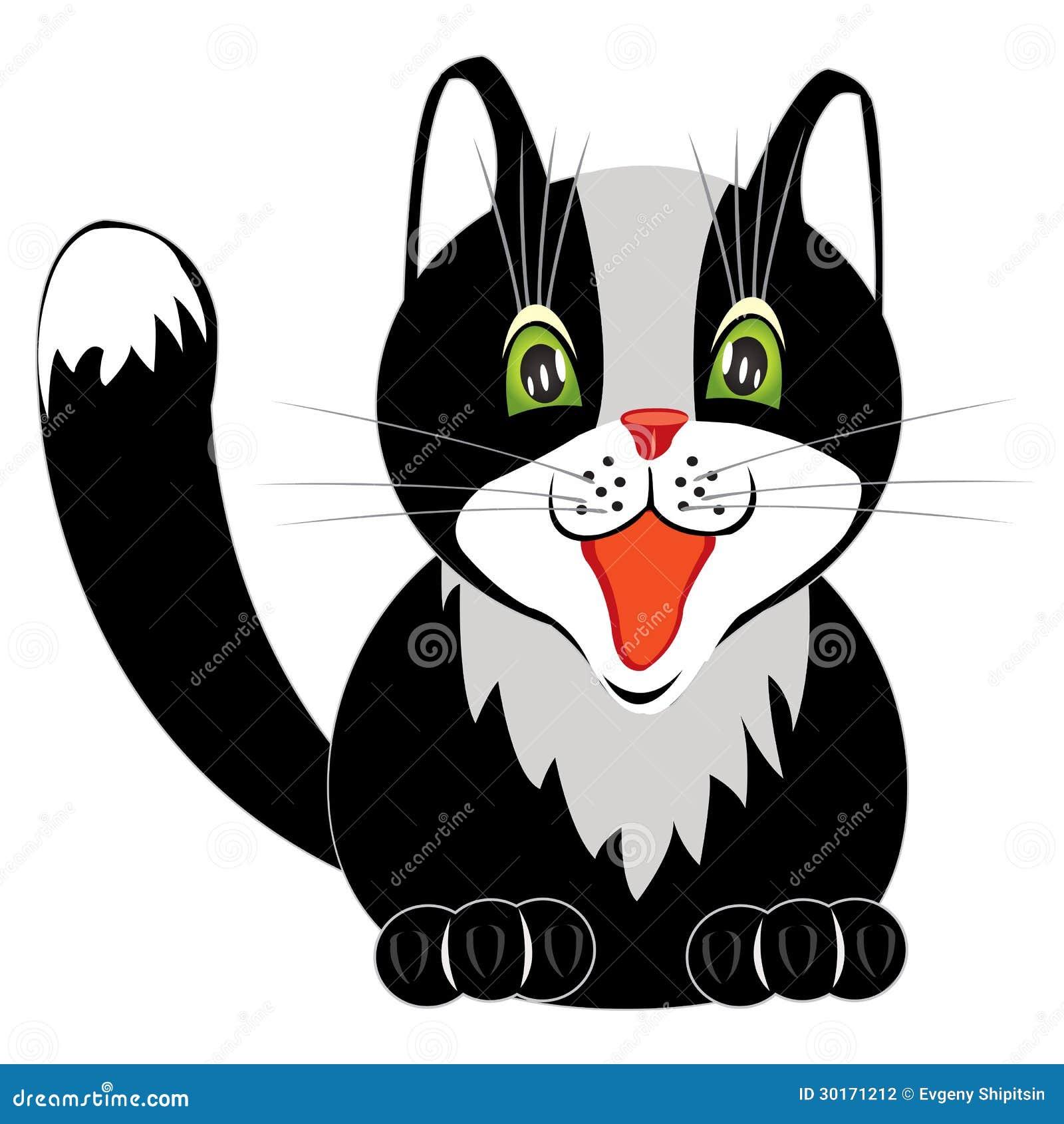 Dibujo Del Gato Agradable En Blanco Ilustración Del Vector