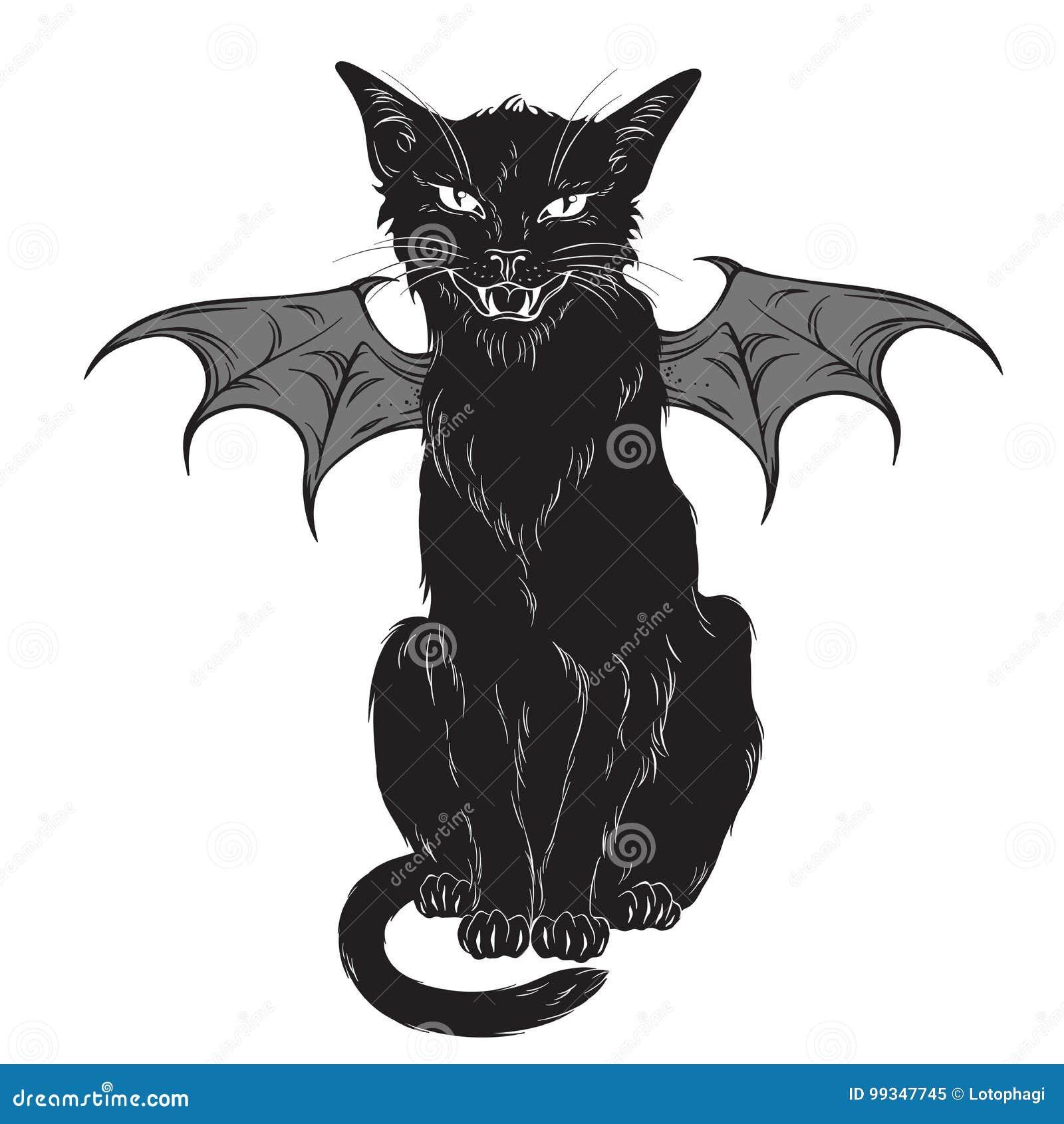 Gato Negro Espeluznante Con Las Alas Del Monstruo Aisladas Sobre El ...