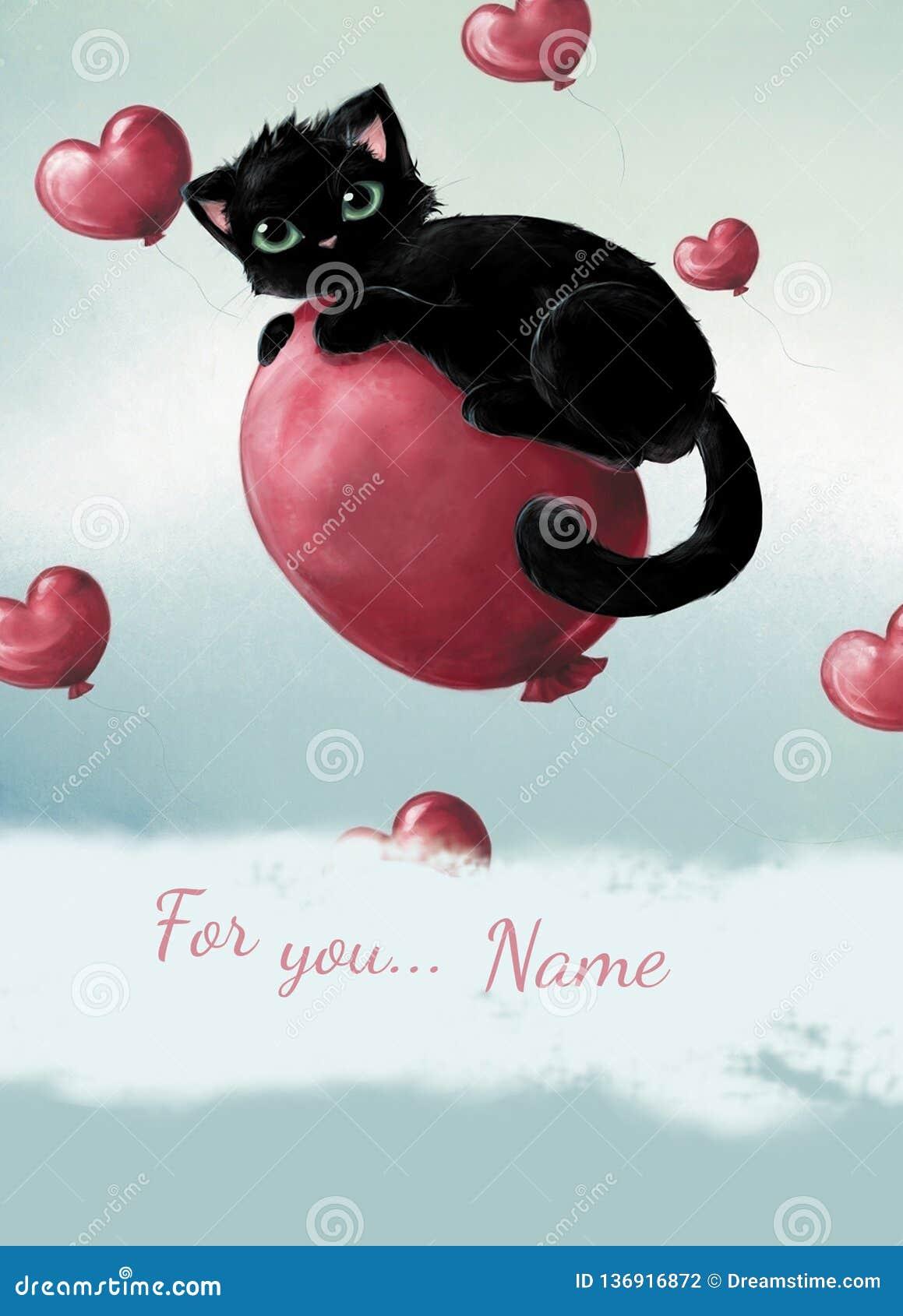 Gato negro feliz del día de tarjeta del día de San Valentín en el corazón