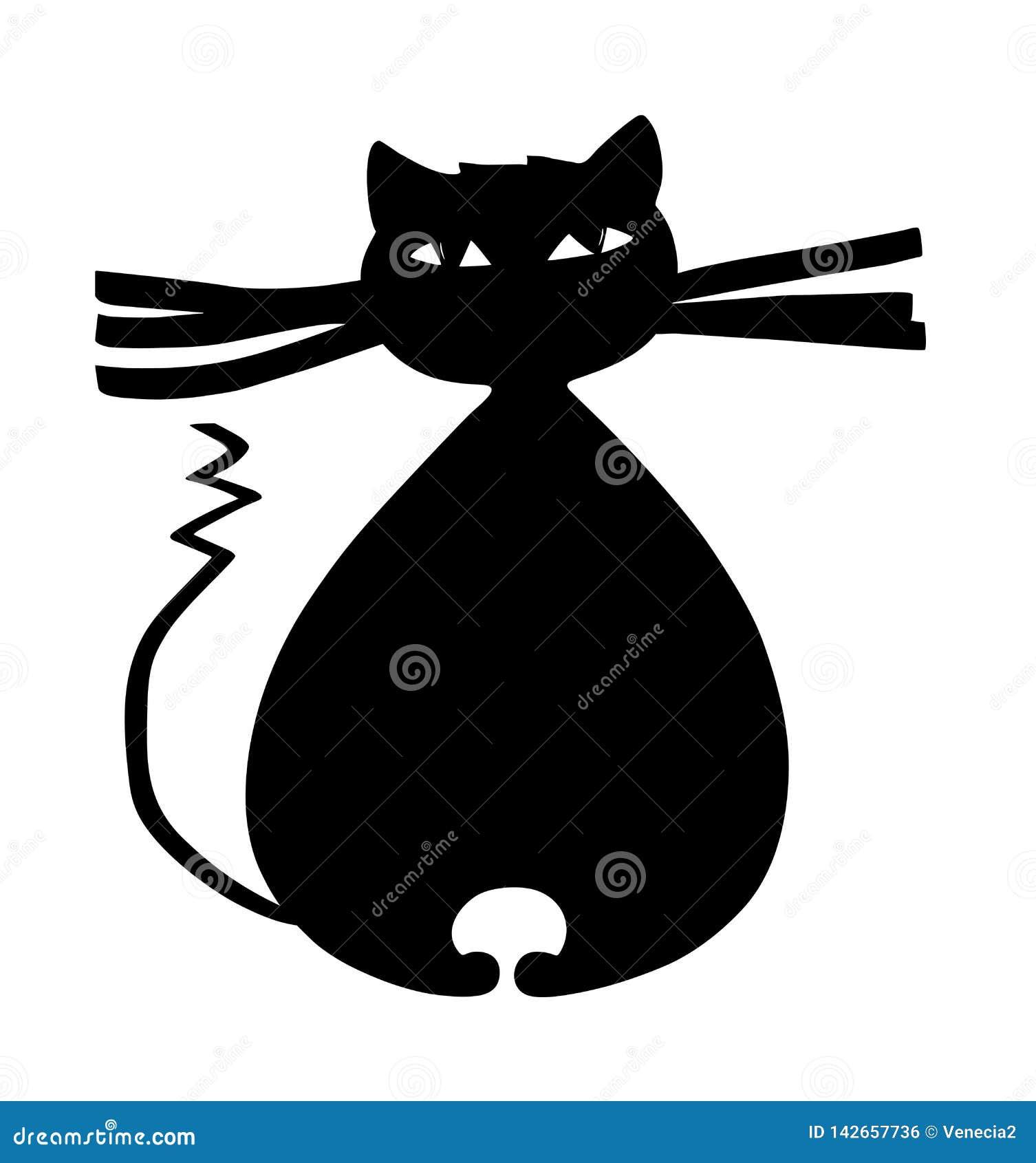 Gato negro grueso con las barbas grandes y el ejemplo curvado de la historieta de la cola