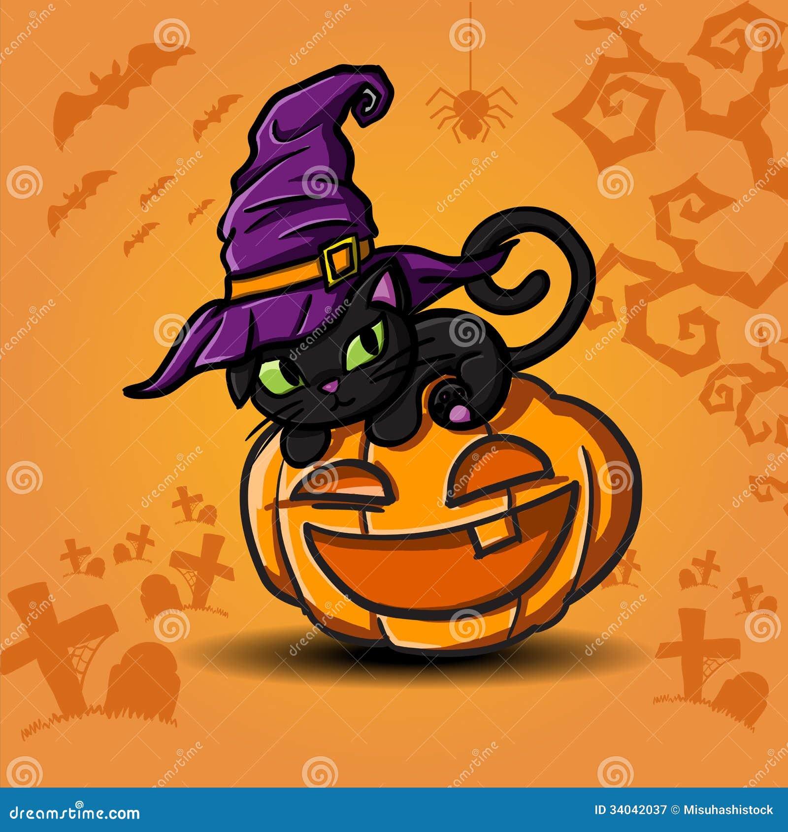 Gato negro y calabaza de halloween fotograf a de archivo - Calabazas pintadas para halloween ...