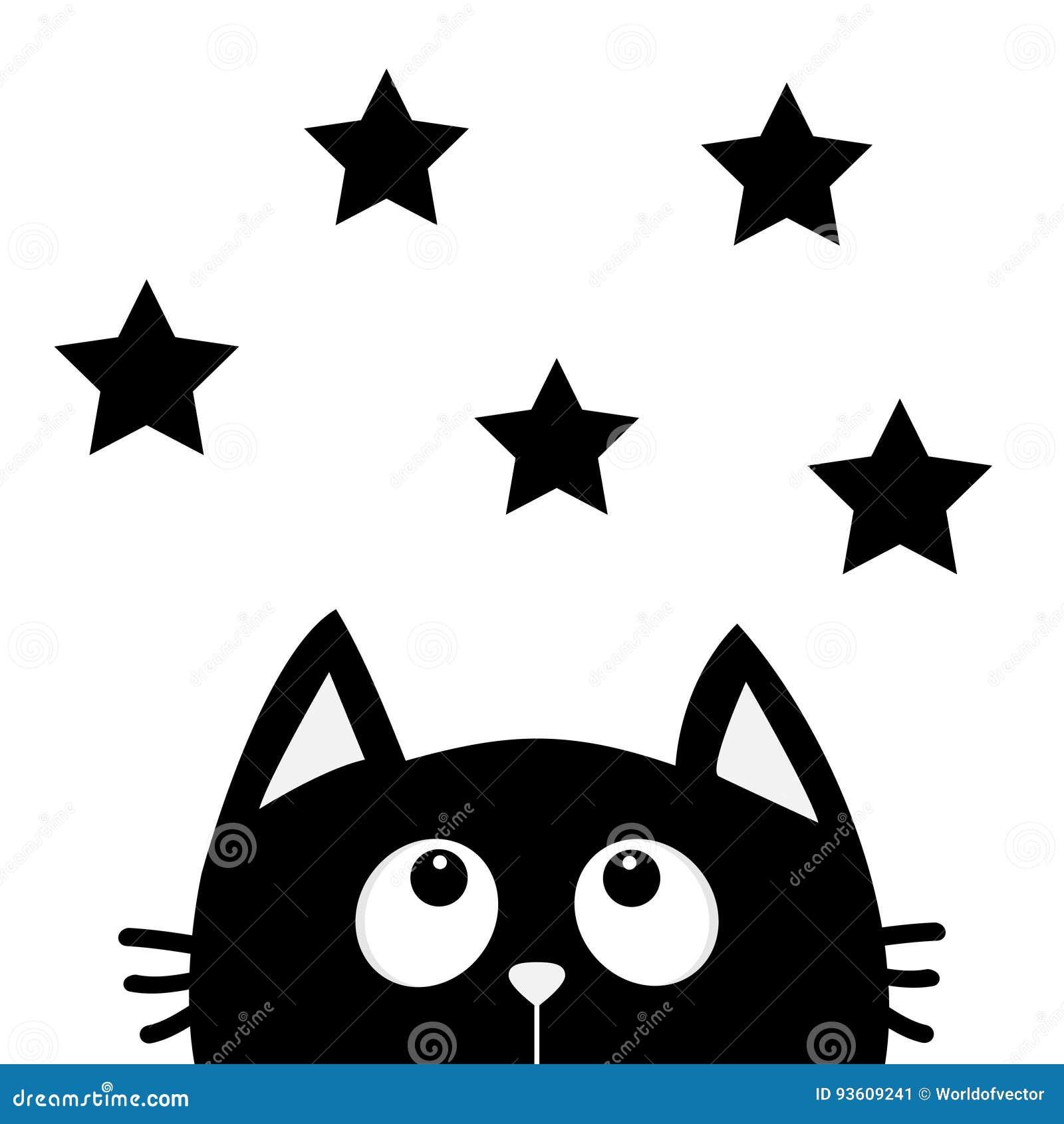 Gato Preto Que Olha Acima Para Star A Forma Eu Amo Gatos Carater