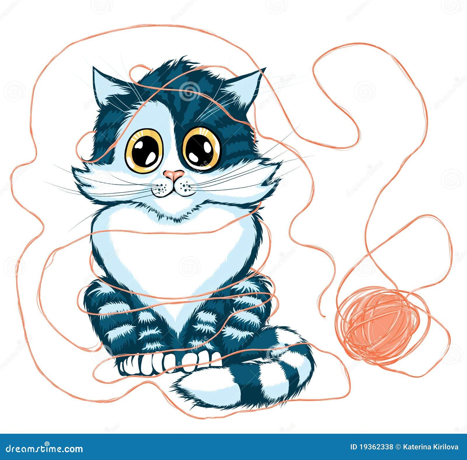 Gato que joga com a esfera do fio