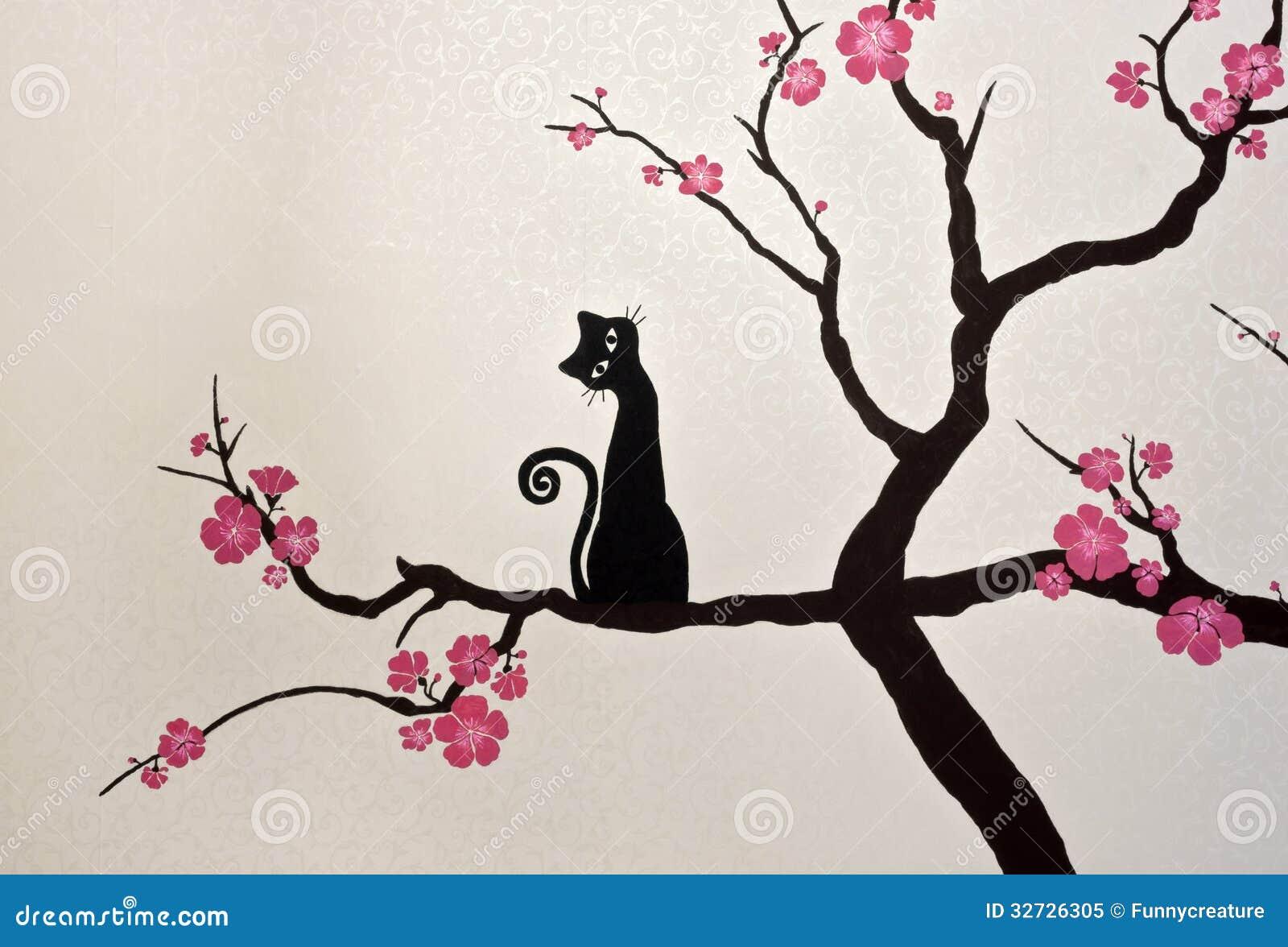 Gato que se sienta en una rama floreciente de sakura - Papel pintado ramas arbol ...