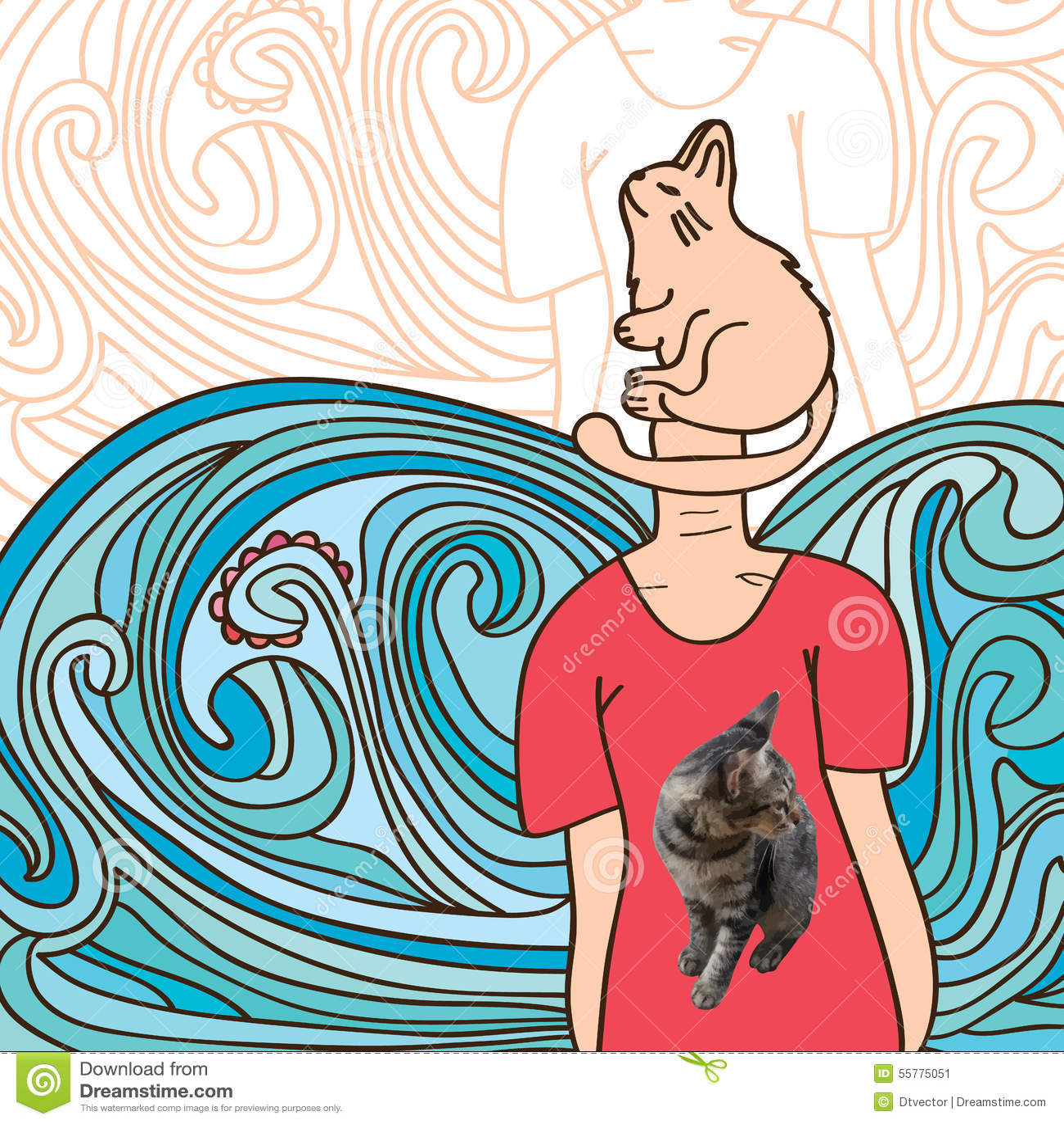 Gato Realista Ilustracion Del Vector Ilustracion De Tarjeta 55775051