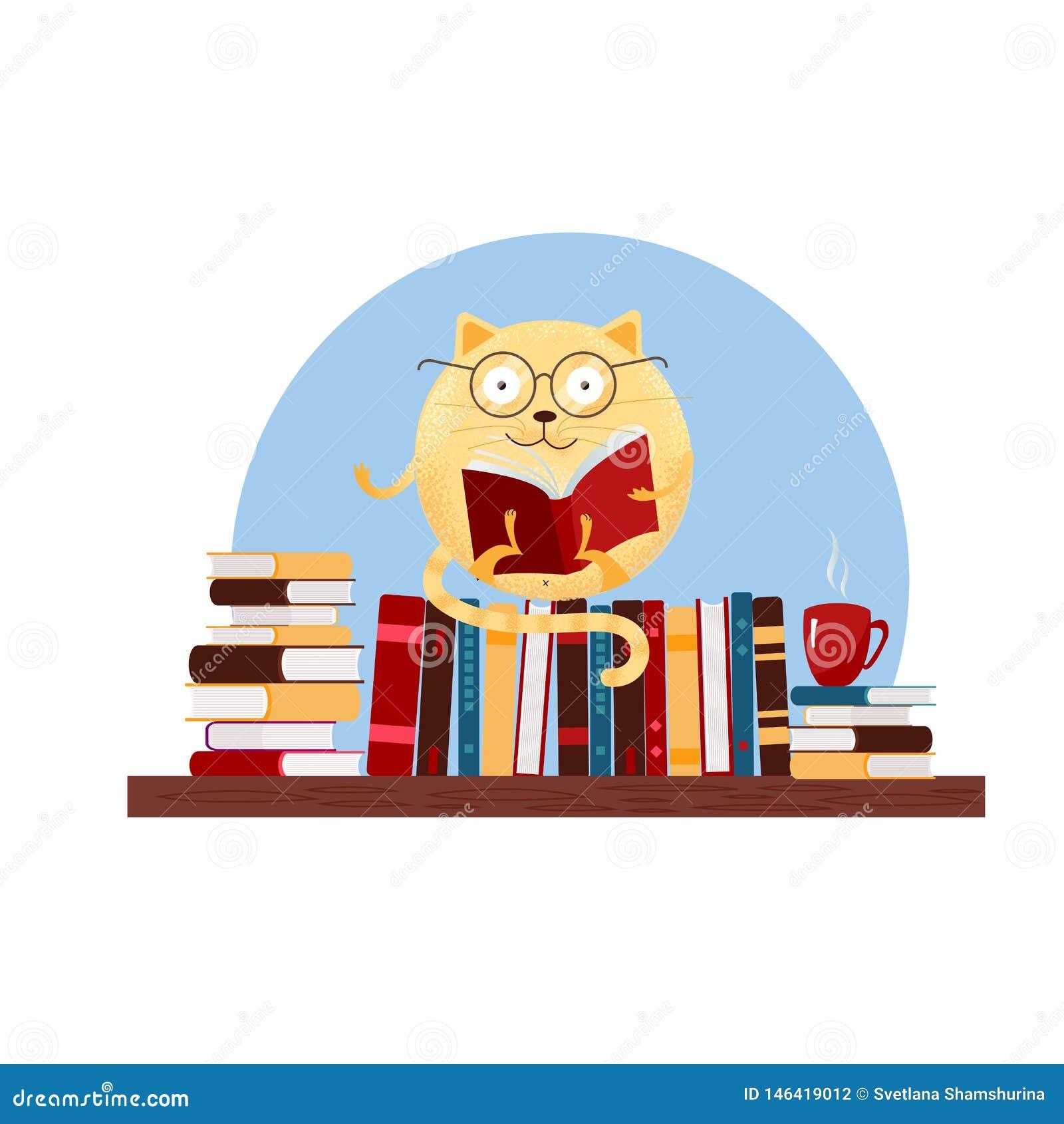Gato redondo exhausto de la fantasía de la mano en los vidrios que se sientan en el estante y el libro de lectura Ejemplo plano t