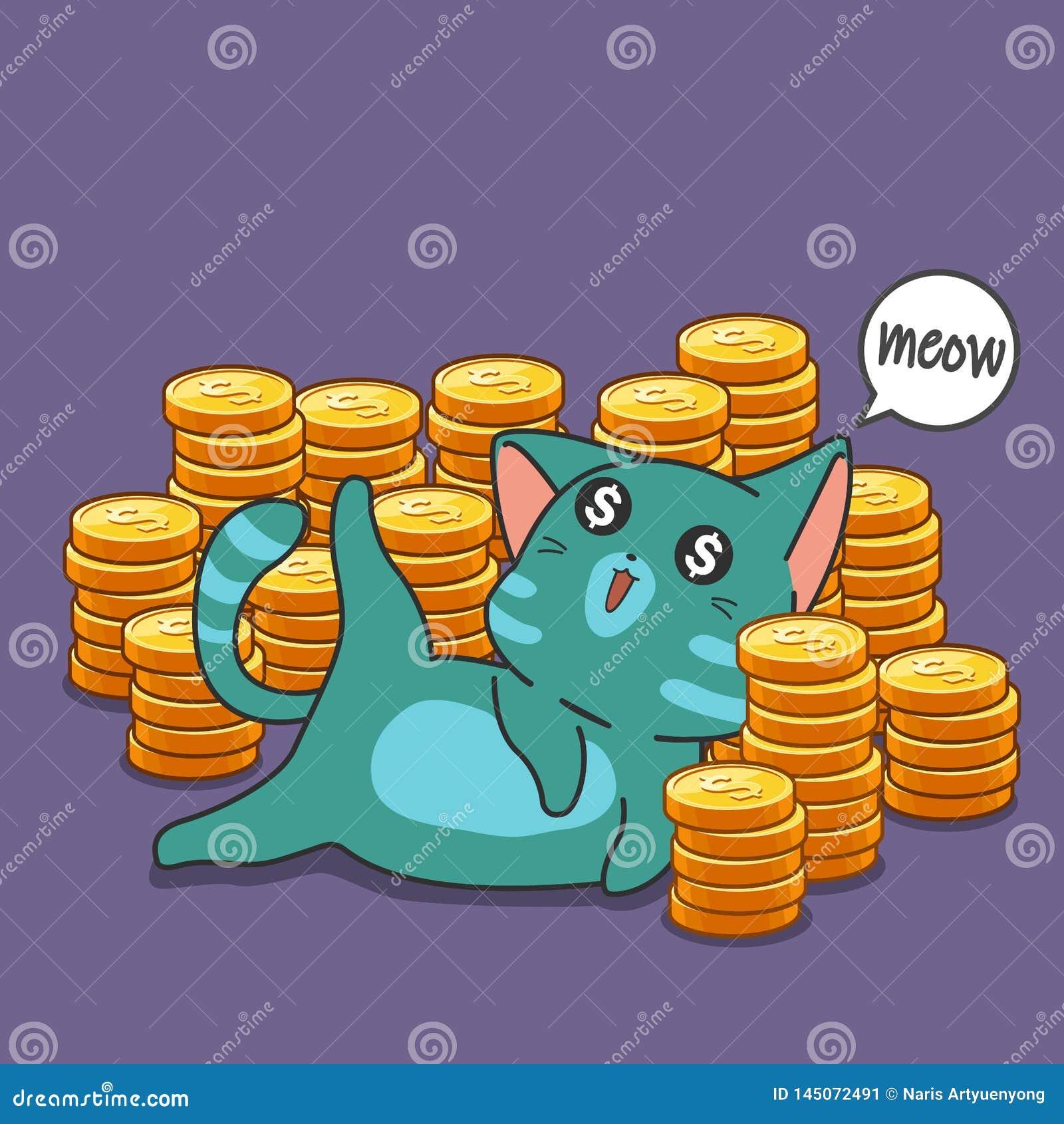 Gato y monedas del millonario