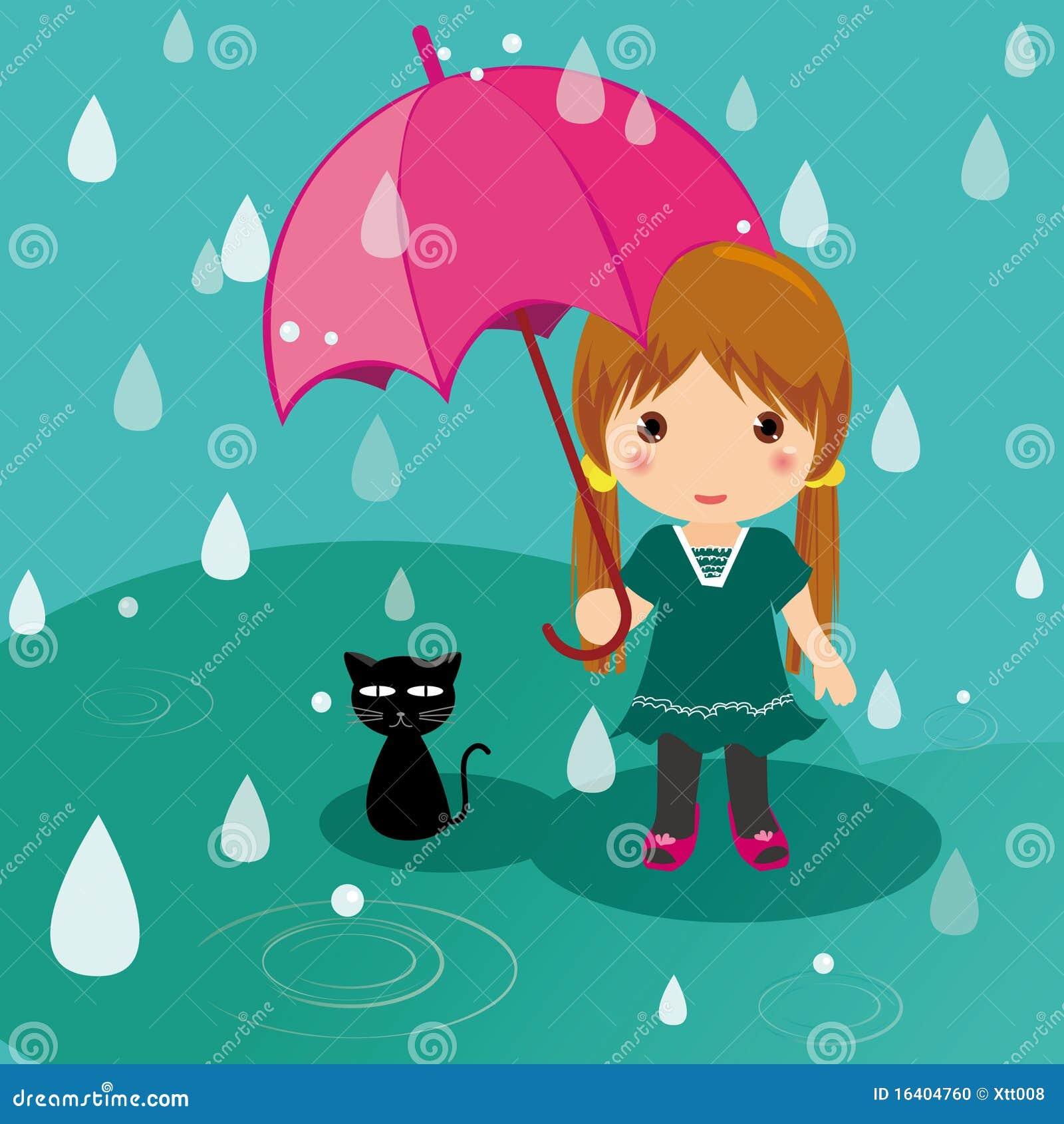 Gato y muchacha del día lluvioso