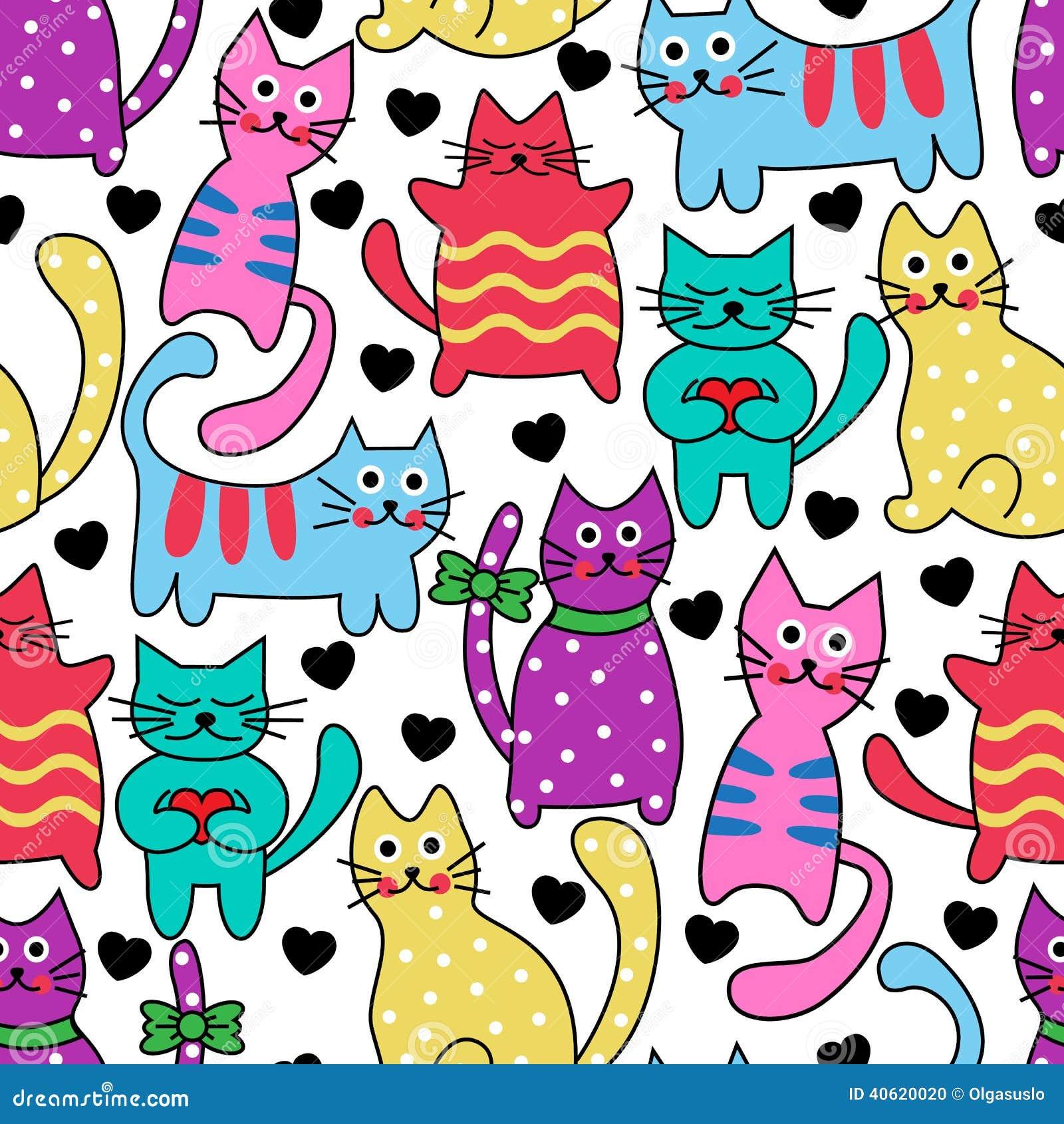 Gatos Coloridos Sem Emenda Dos Desenhos Animados Ilustracao Do