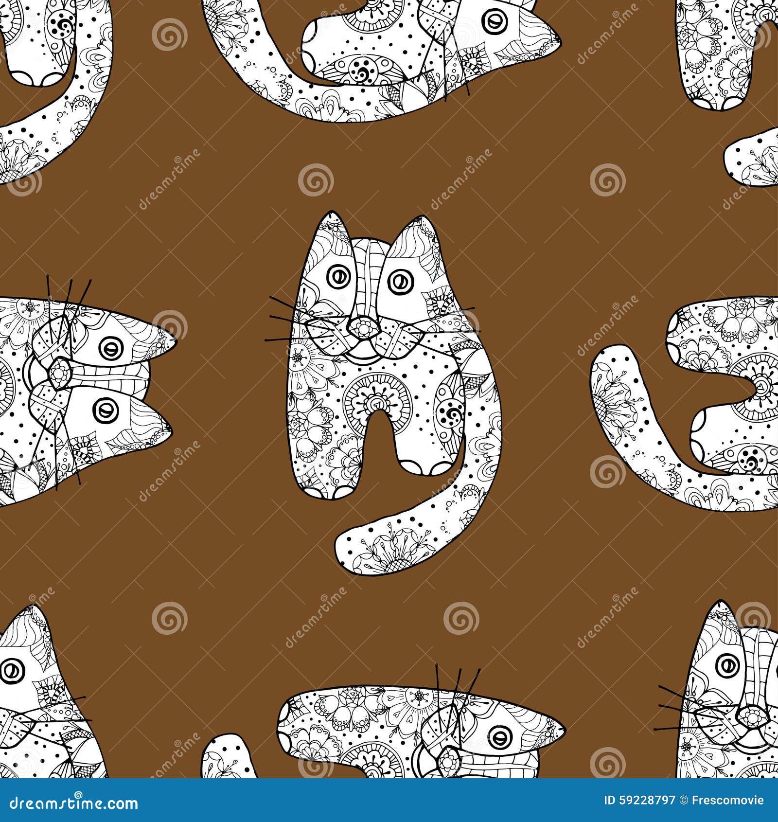 Download Gatos Inconsútiles Del Od Del Modelo Ilustración del Vector - Ilustración de gatito, diversión: 59228797