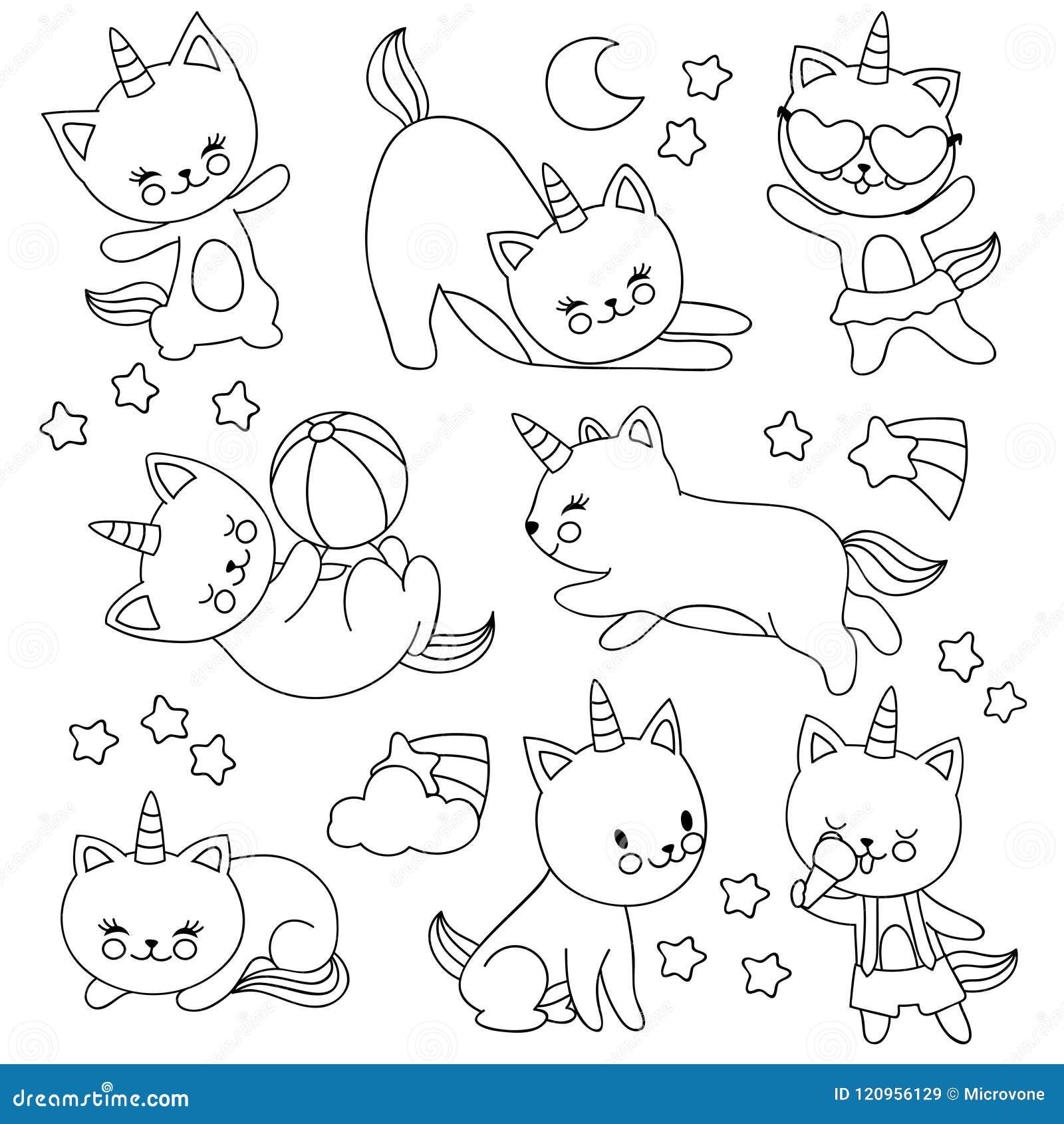 Gatos Lindos Dibujados Mano Del Unicornio Del Vuelo