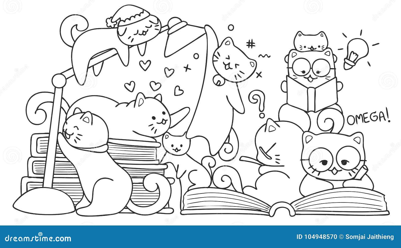 Gatos Lindos Dibujados Mano Que Leen Para El Elemento Del Diseño Y ...