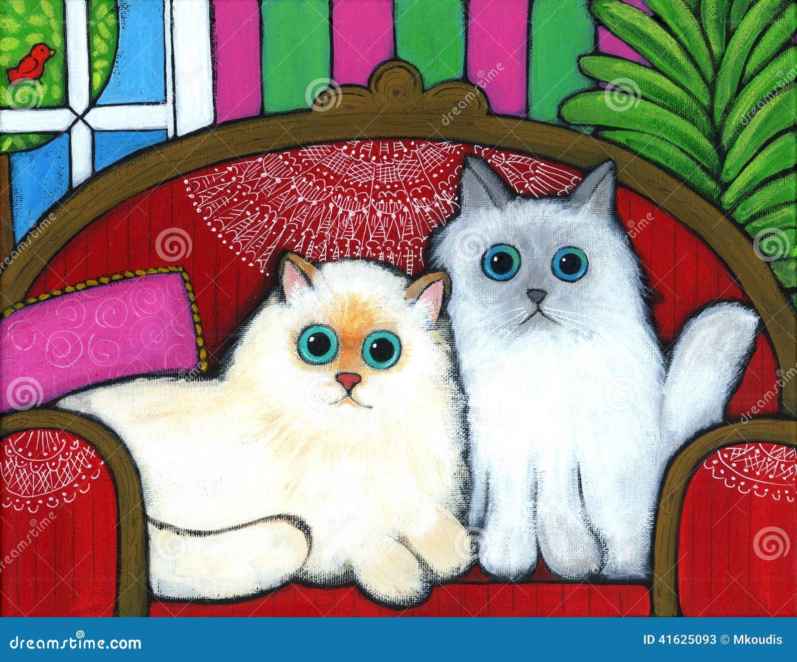 Gatos no sofá