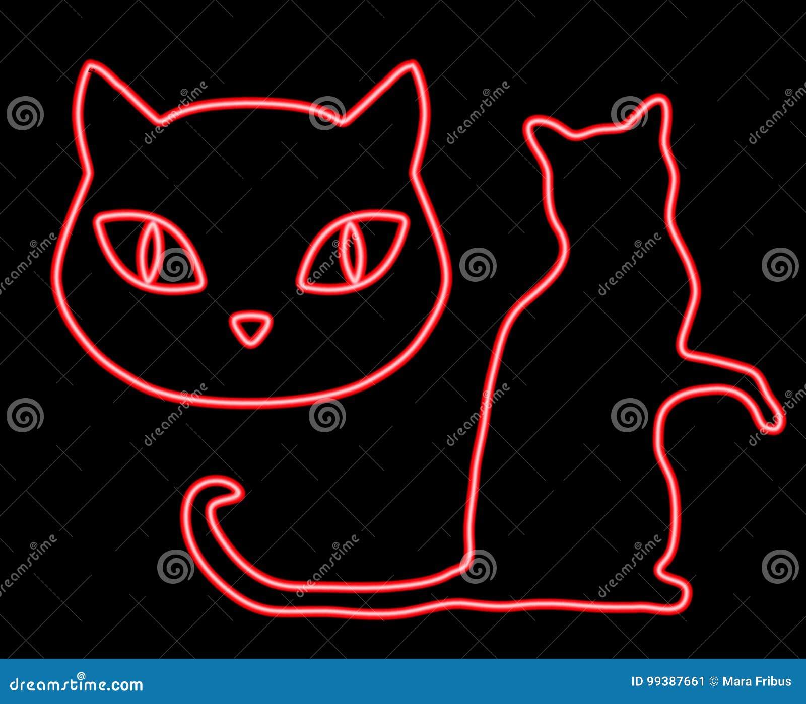 Gatos Que Brillan Intensamente Del Neón Ilustración Del