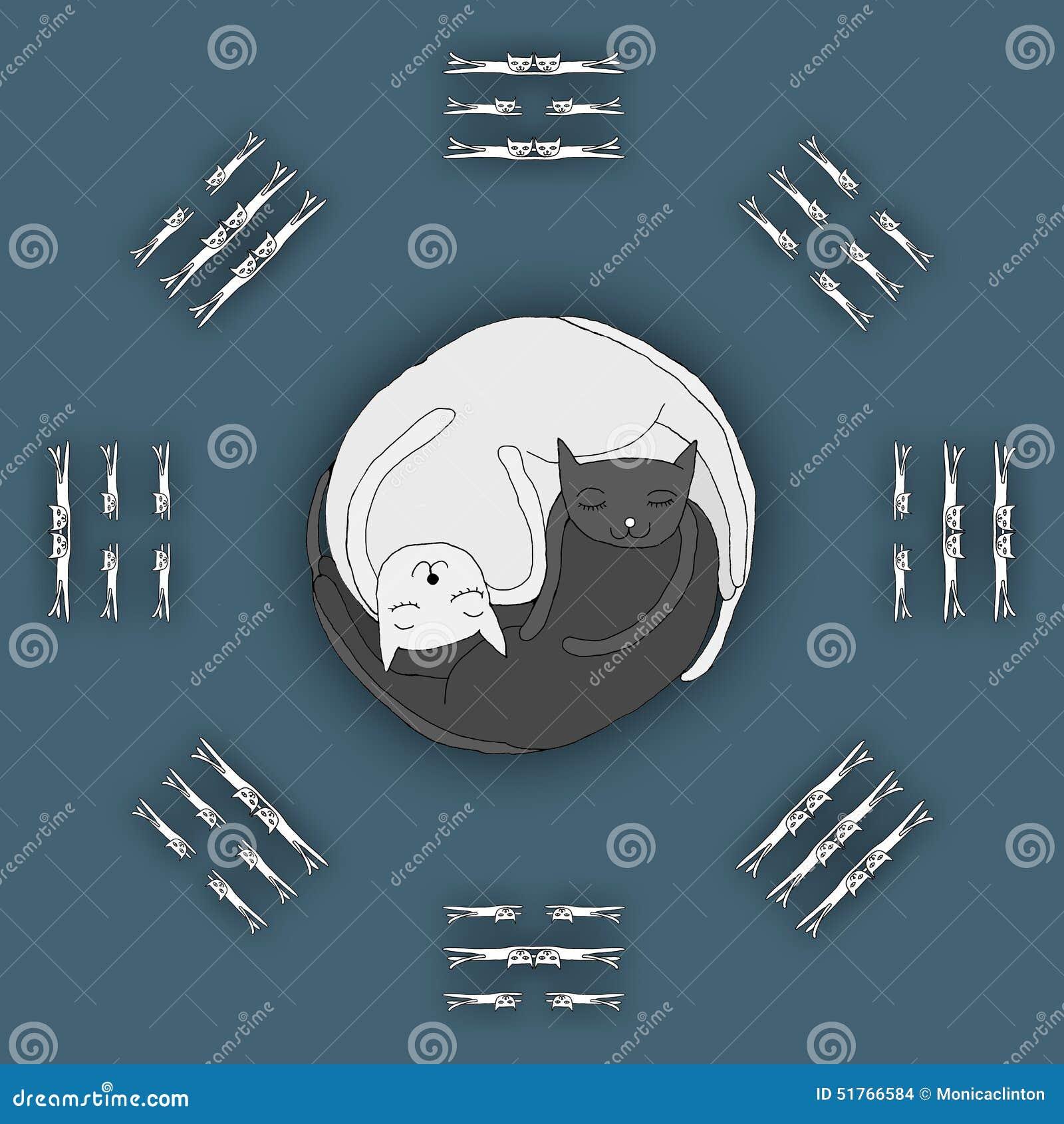 Gatos que duermen en la forma del zen, Yin Yang