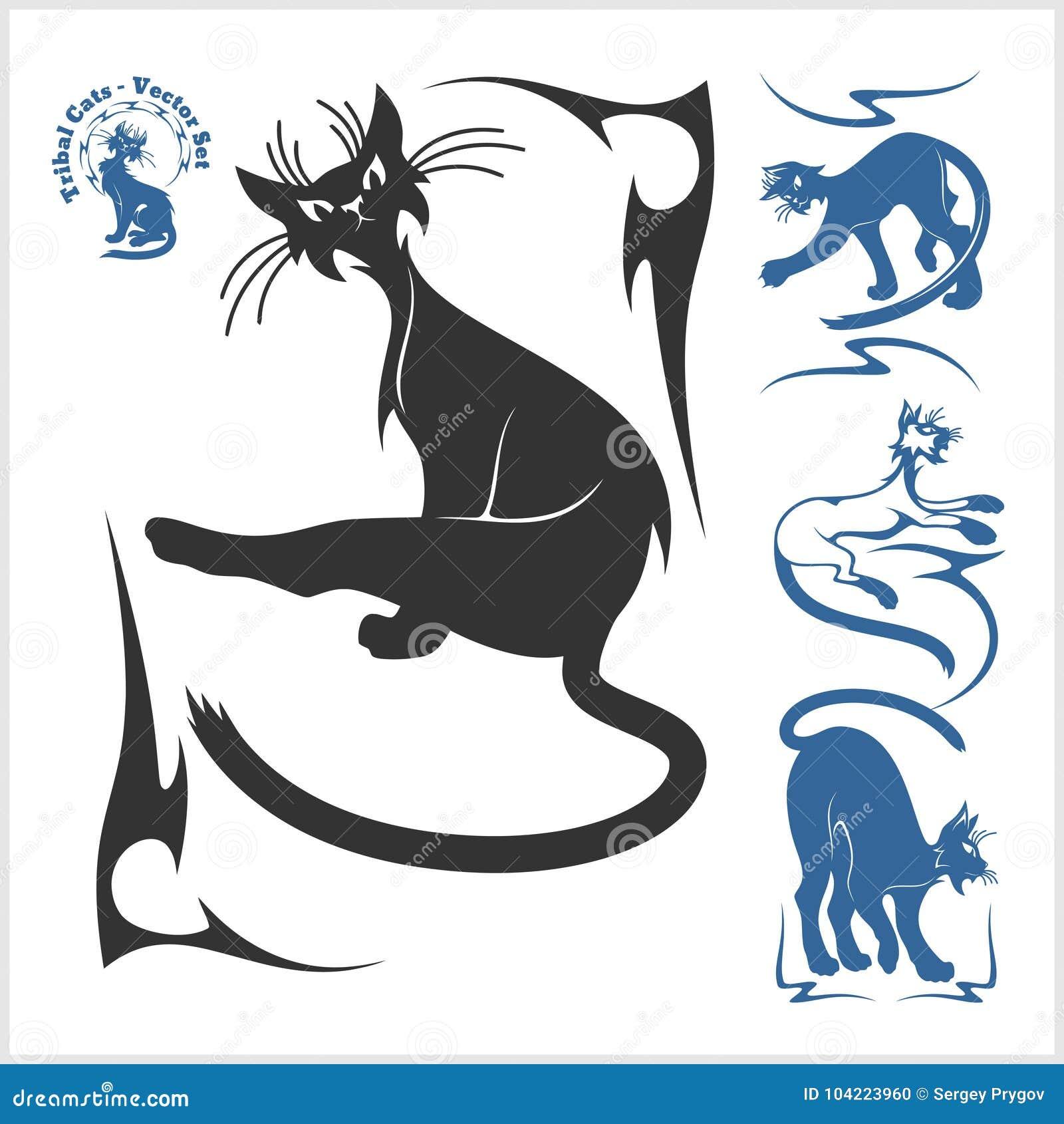 Gatos Tribales Para El Tatuaje Sistema Del Vector Ilustración Del