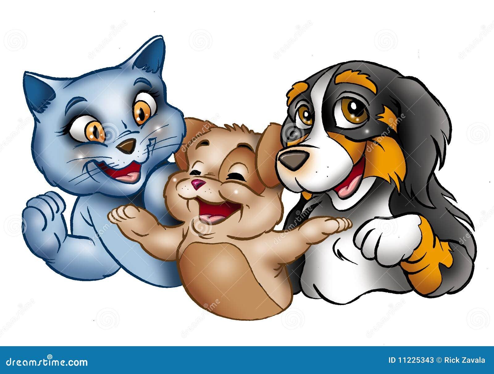 Gatos y perro felices de la historieta