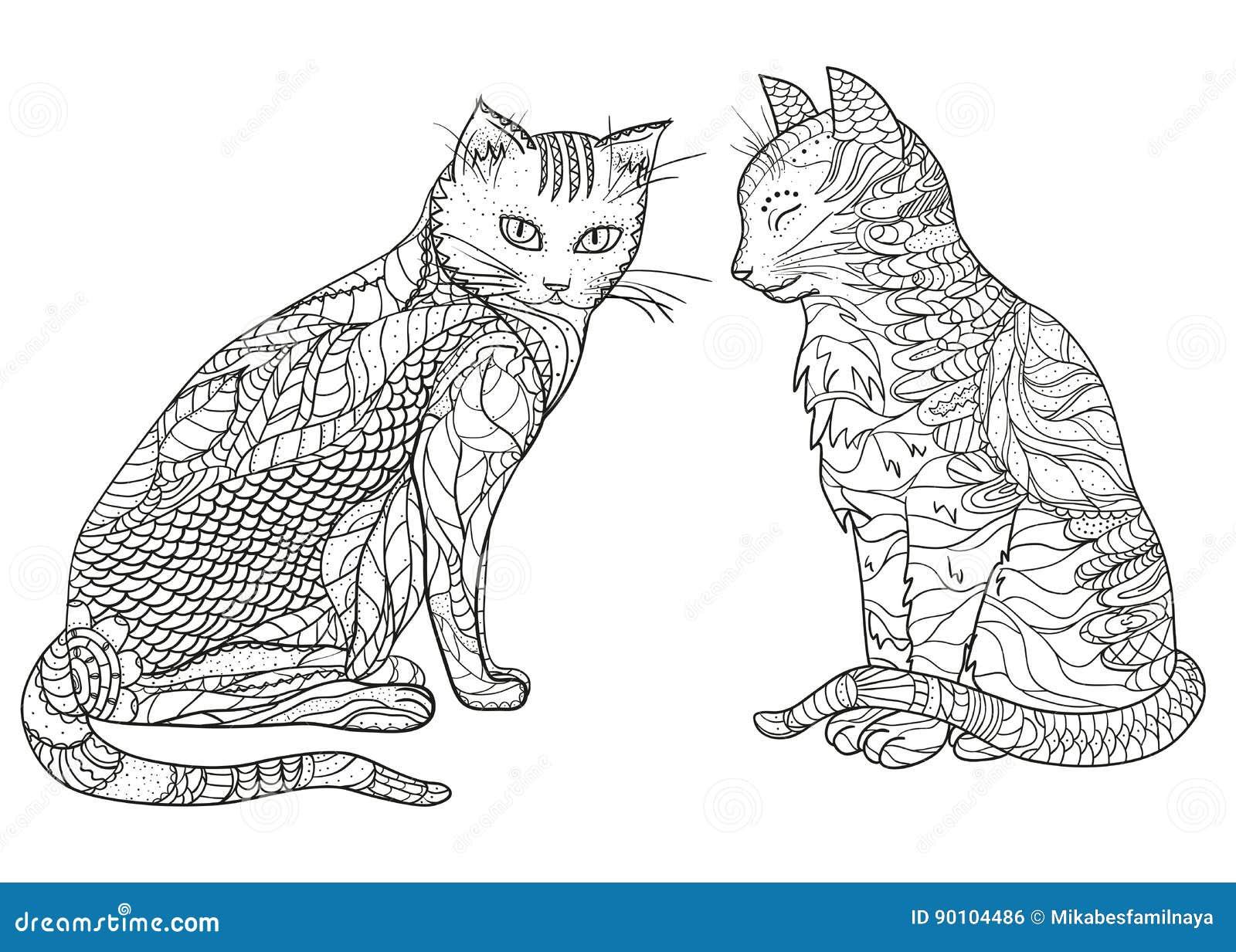 Gatos Zentangle del diseño ilustración del vector. Ilustración de ...