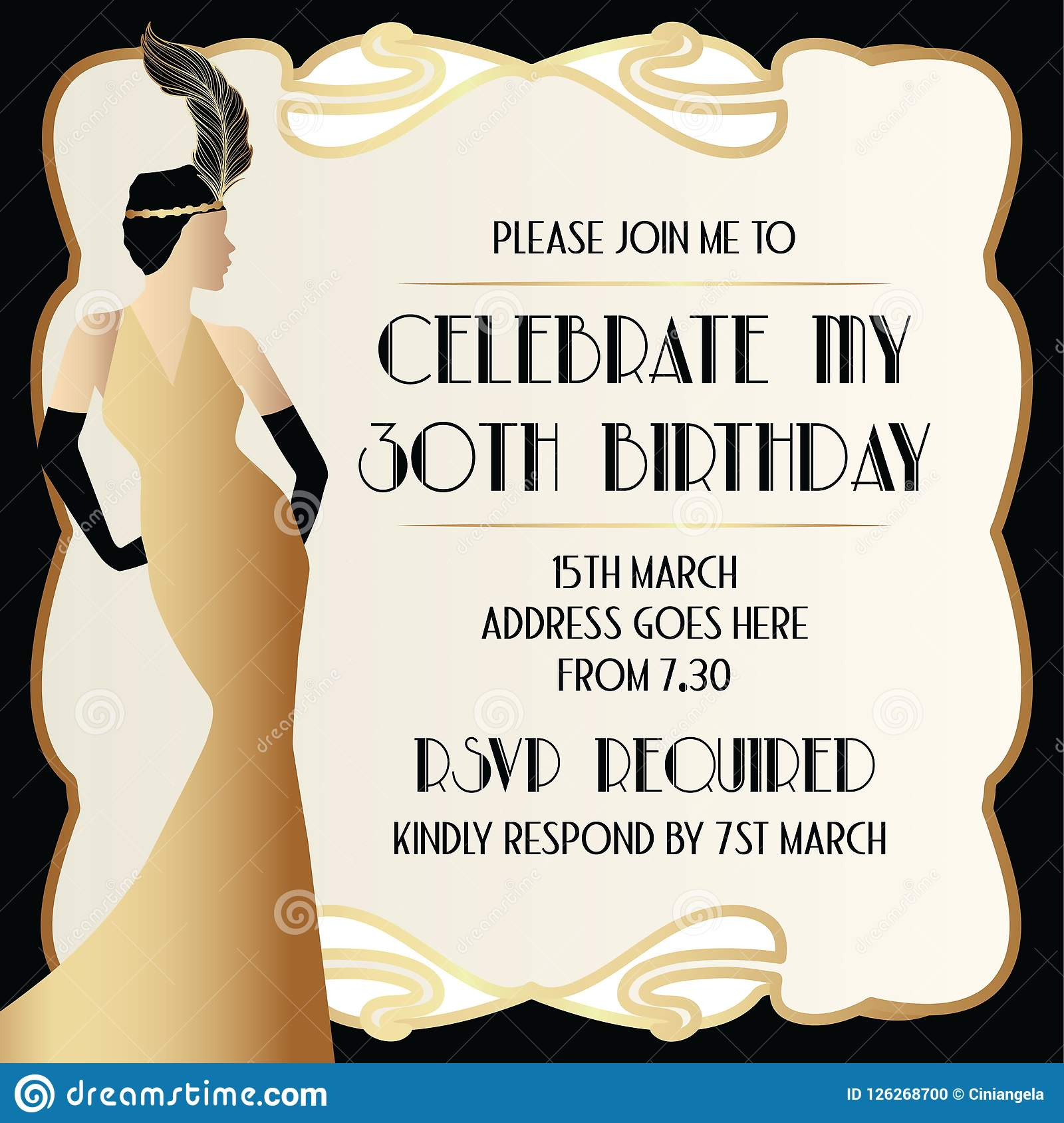 Gatsby Art Deco Invitation Design With Elegant Women In Dress Stock ...