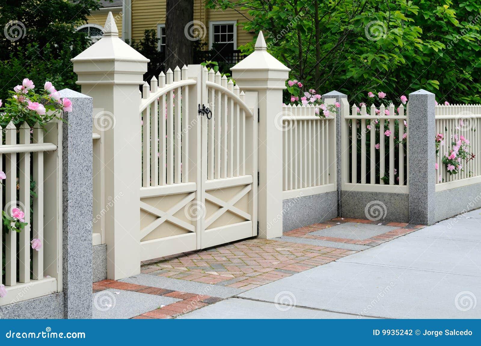 Weißer Zaun Mit Rosen Stockbilder Bild