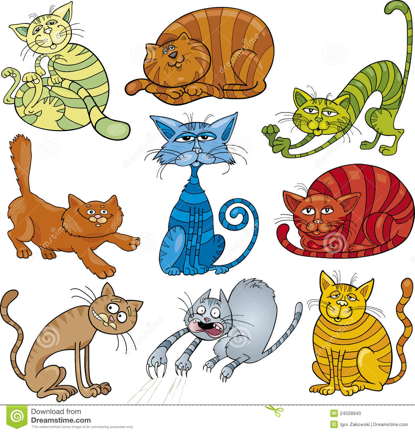 Gatti del fumetto impostati fotografia stock immagine - Dessins de chats rigolos ...