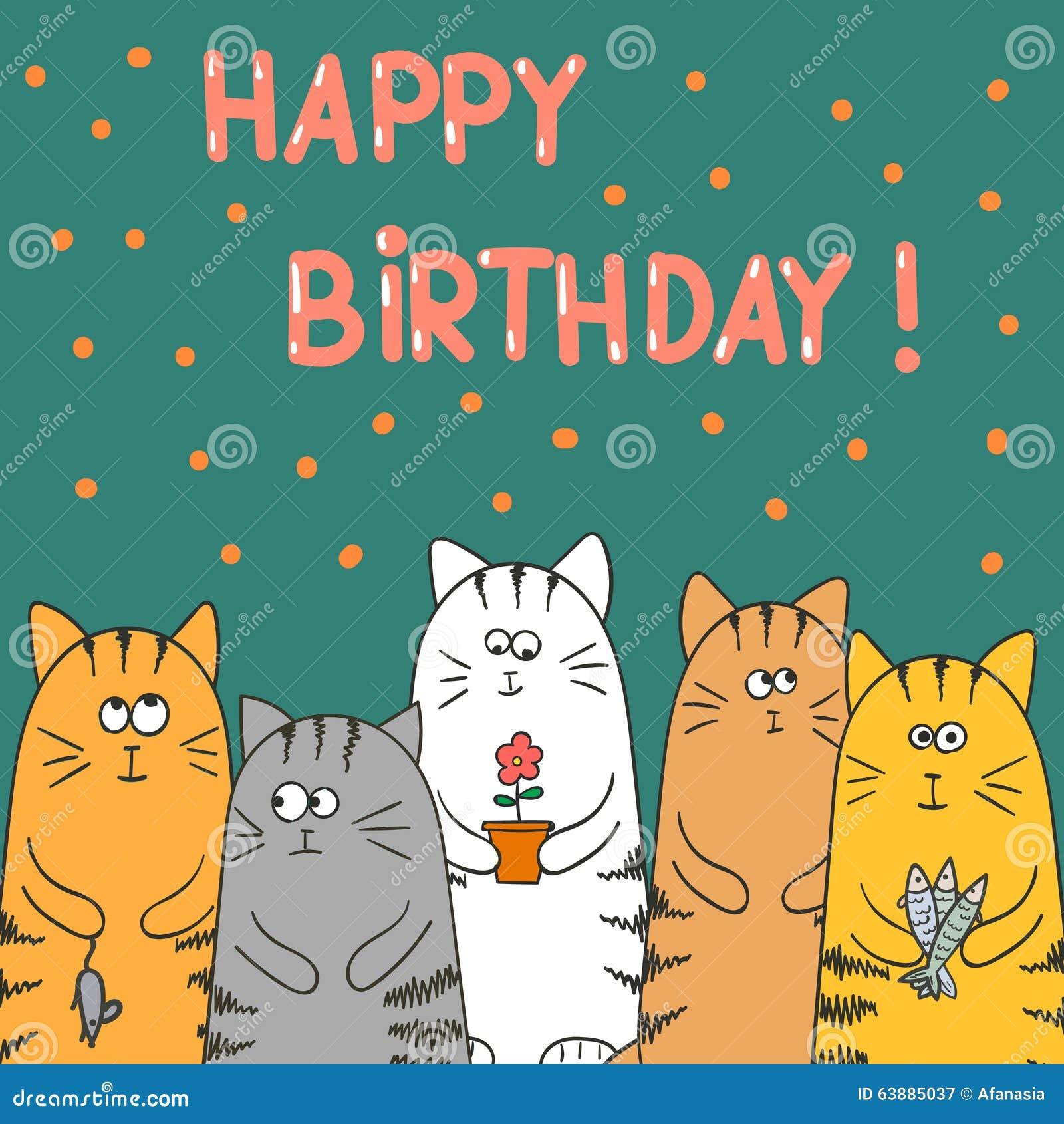 Ben noto Biglietto Di Auguri Per Il Compleanno Con I Gatti Illustrazione  DT08