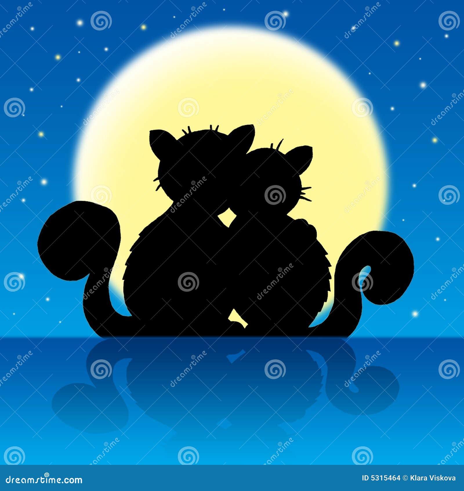 Download Gatti Nella Luce Della Luna Illustrazione di Stock - Illustrazione di profilo, baciare: 5315464
