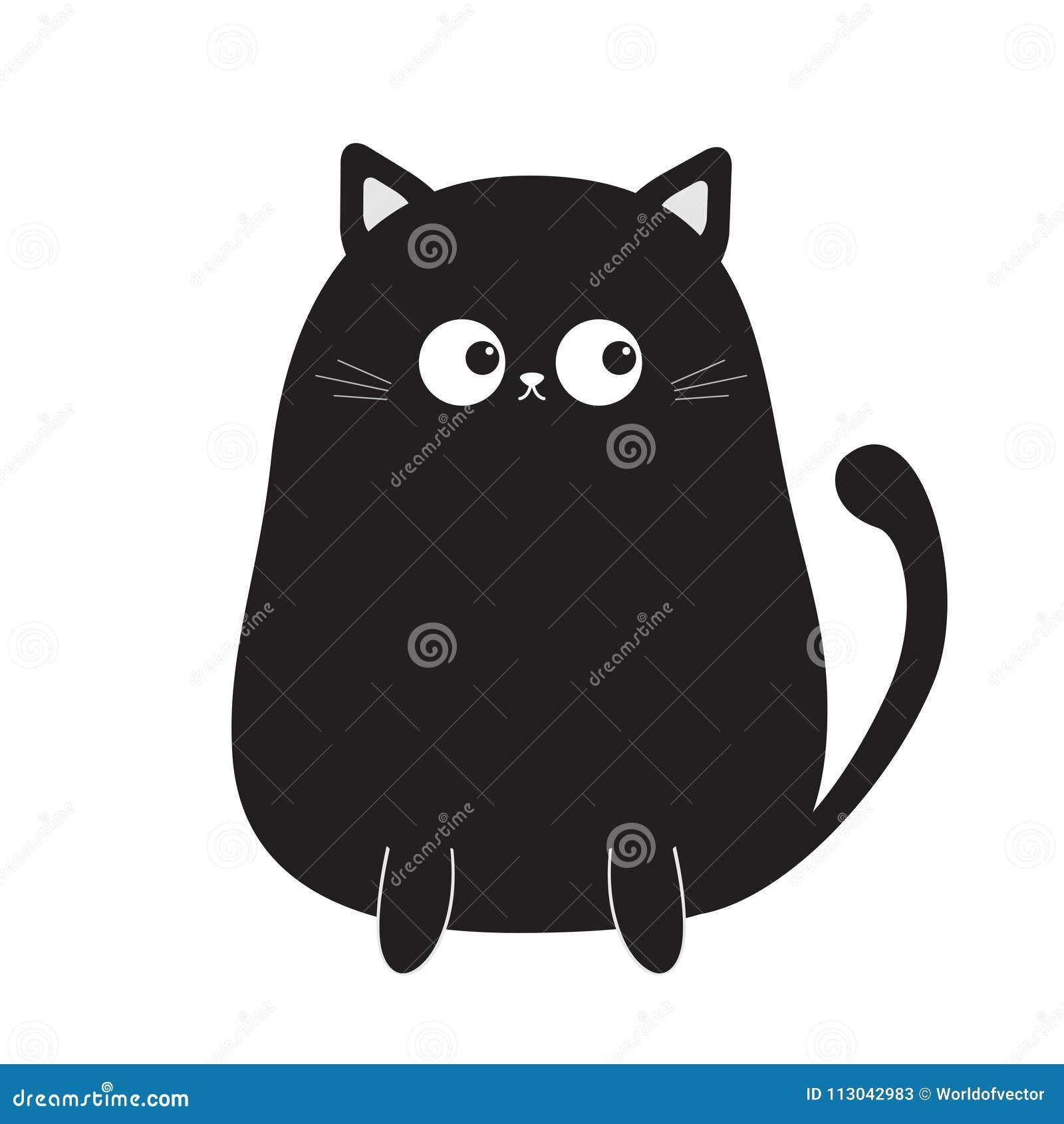 Gattino Di Seduta Sveglio Nero Del Gatto Che Considera Coda