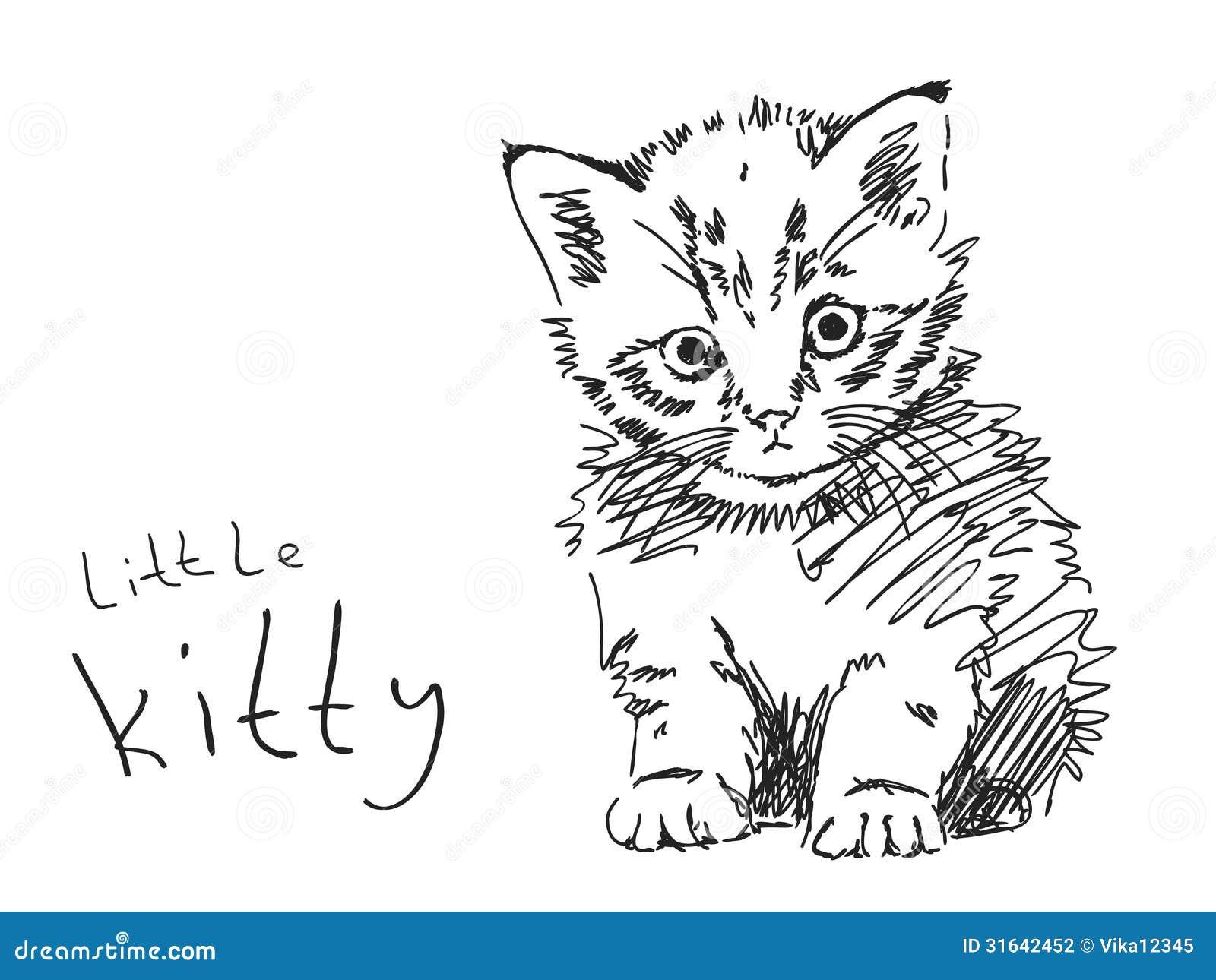 Pagine Da Colorare Di Maiali Download Disegni Di Maiali Da: Gattino Disegnato A Mano Fotografia Stock