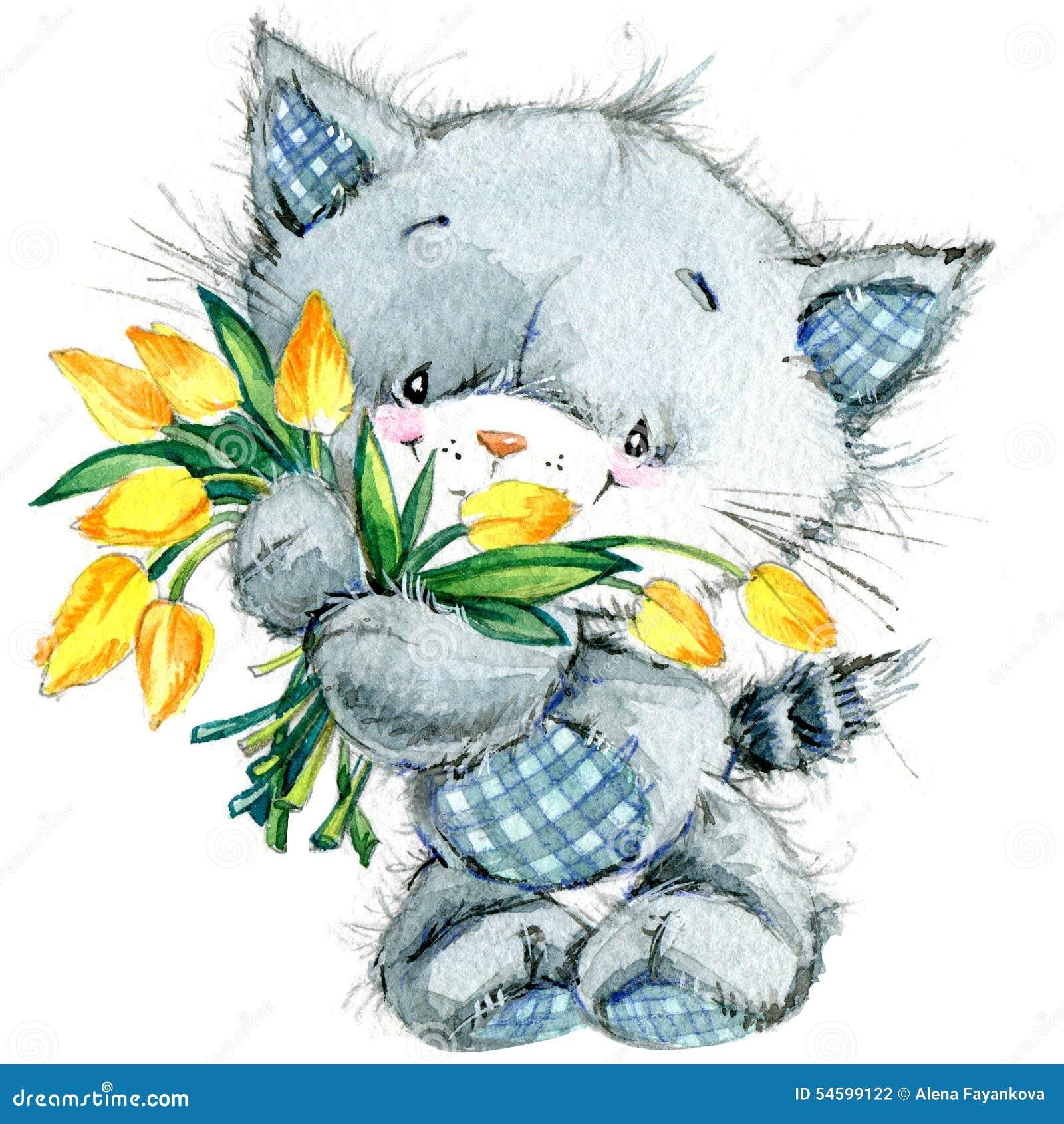 Gattino sveglio watercolor