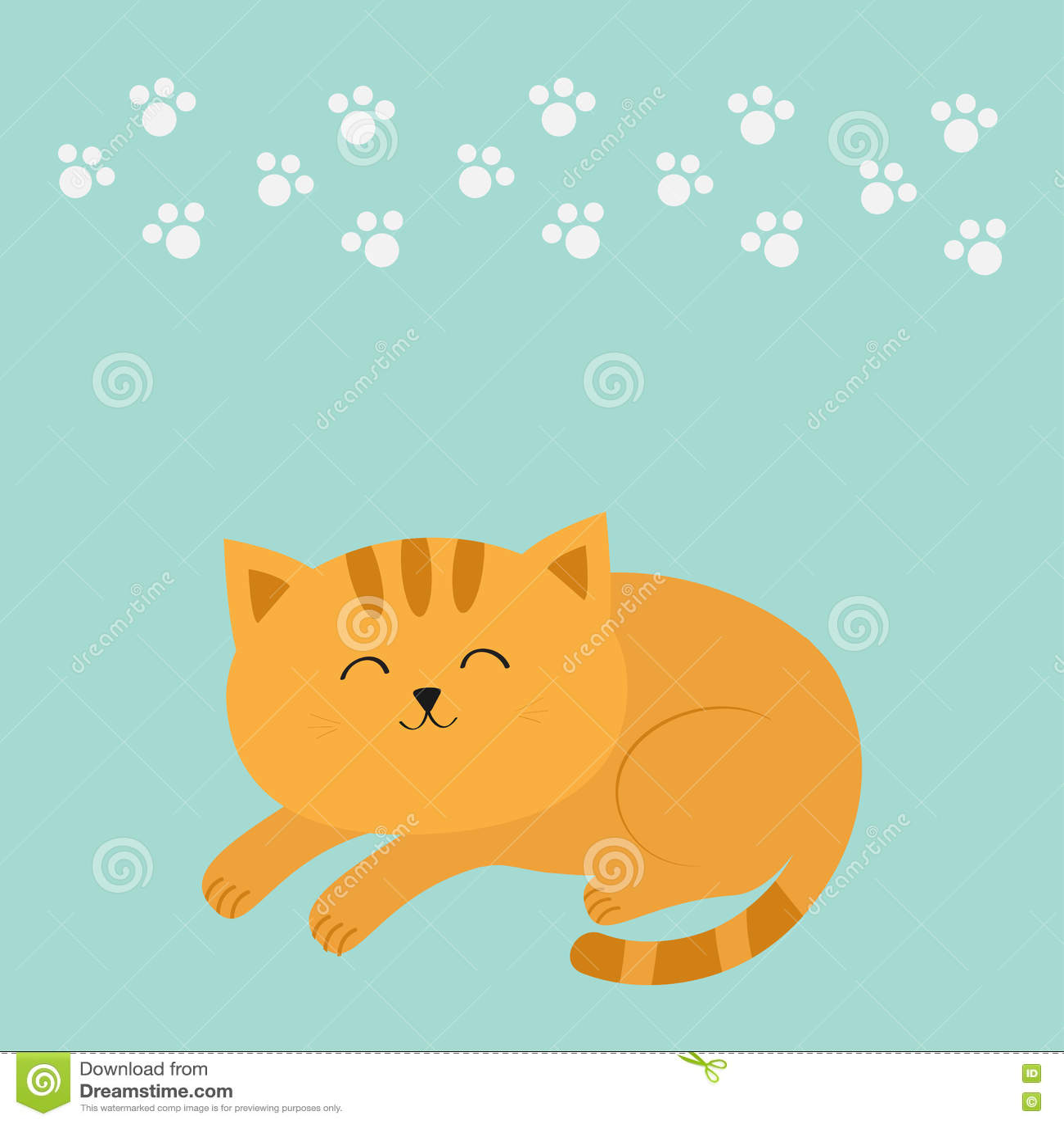 Gatto arancio di menzogne sveglio sonno con le basette