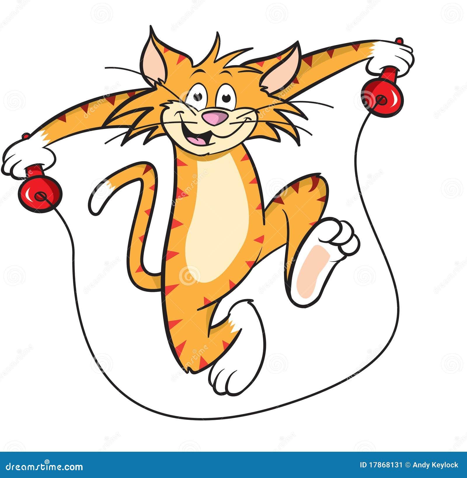 Gatto del fumetto con la corda di salto illustrazione for Gatto clipart