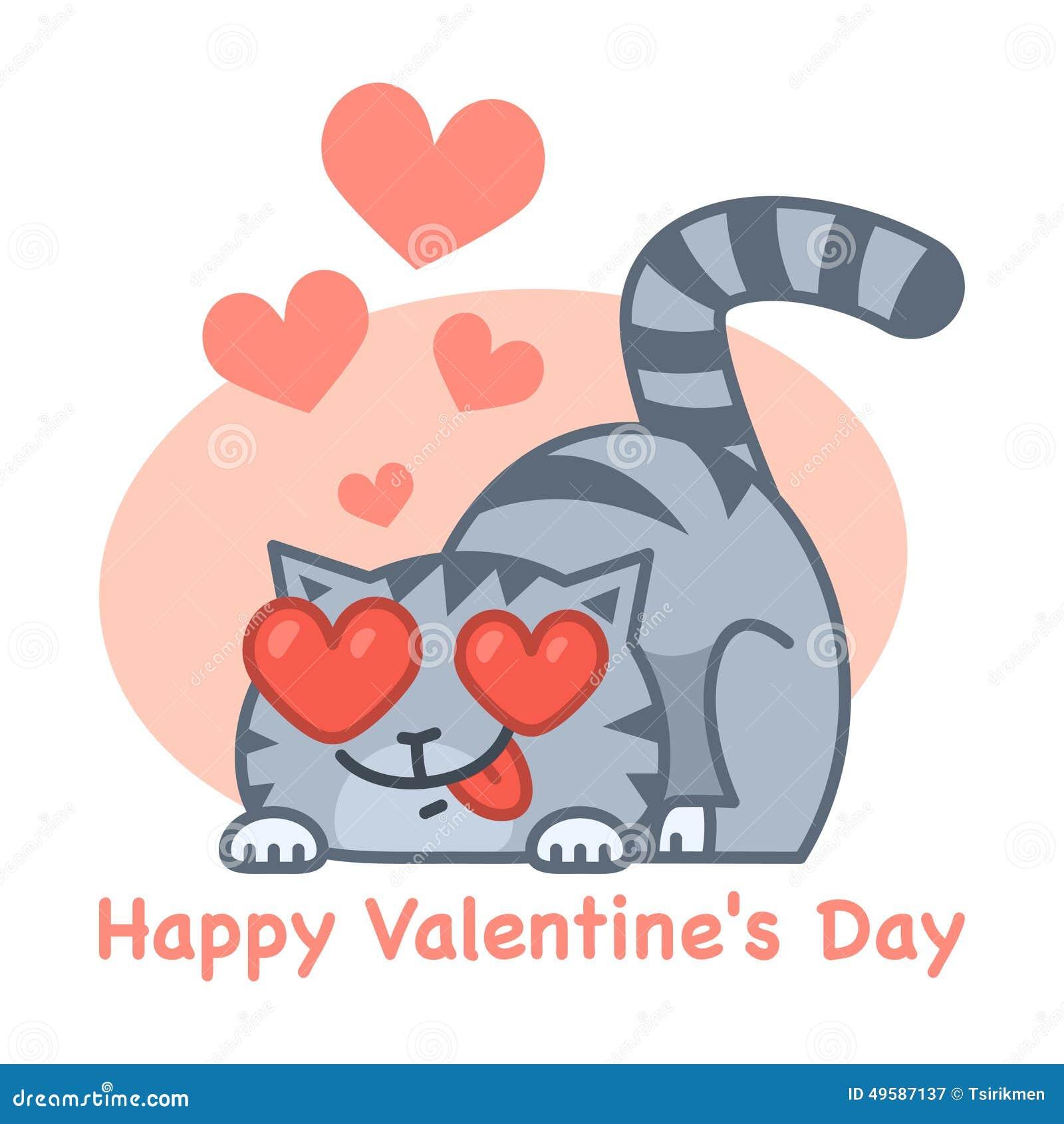 Gatto di amore di san valentino illustrazione vettoriale for Pensierini di san valentino