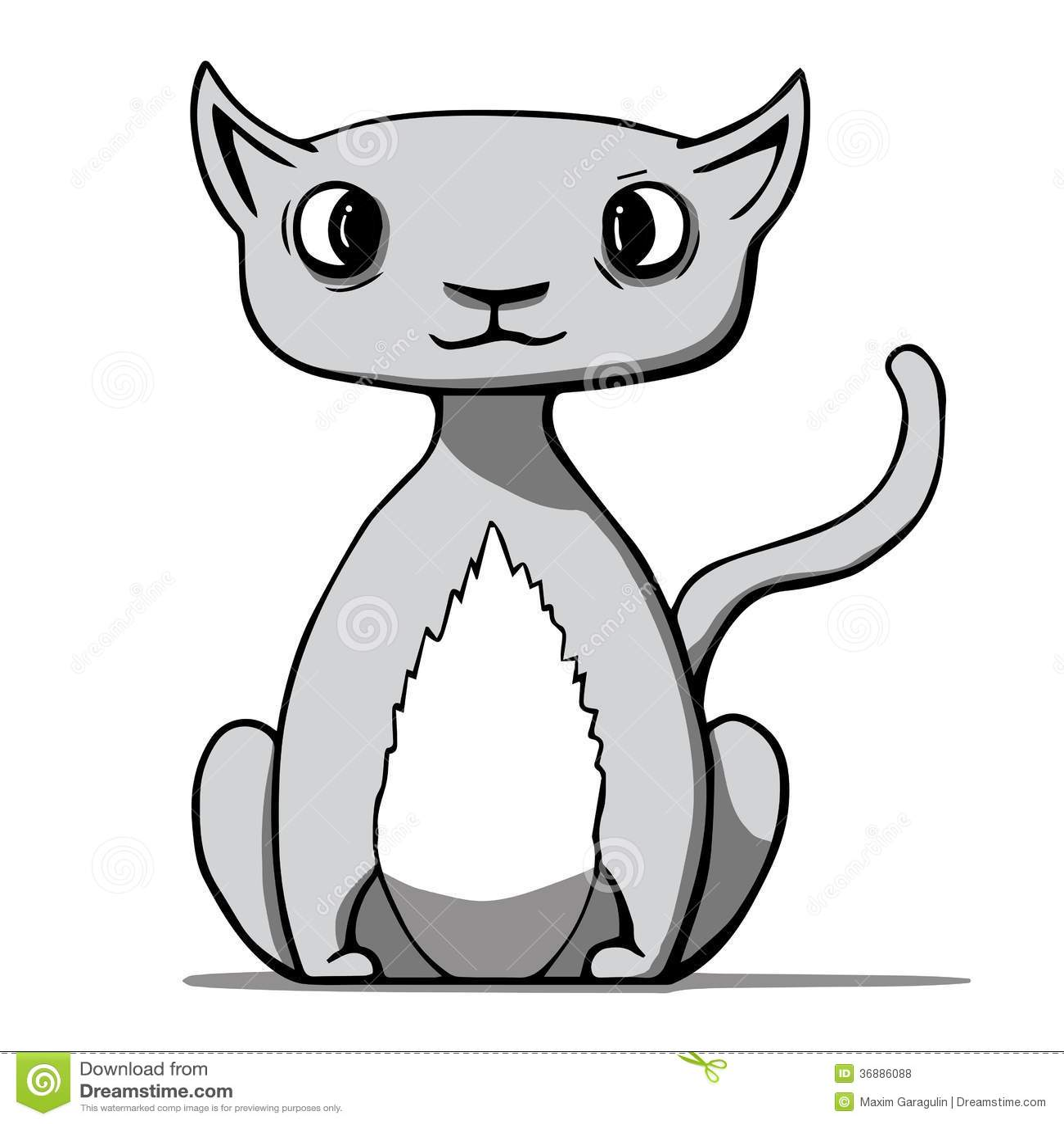 Download Gatto Divertente Del Fumetto. Illustrazione Di Vettore Illustrazione Vettoriale - Illustrazione di felino, grigio: 36886088