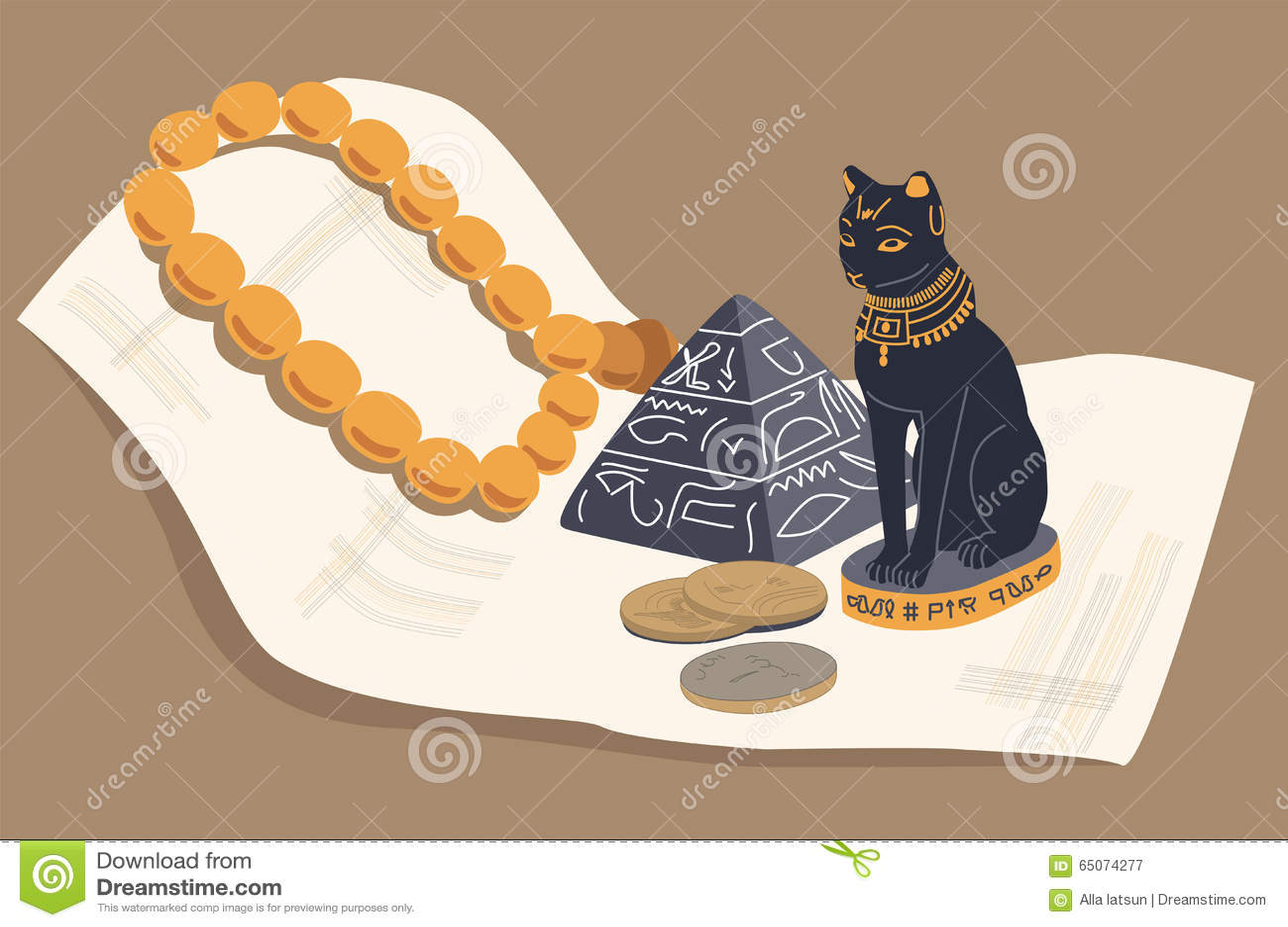 Gatto egiziano, una piramide e papiro Vettore, ENV 10
