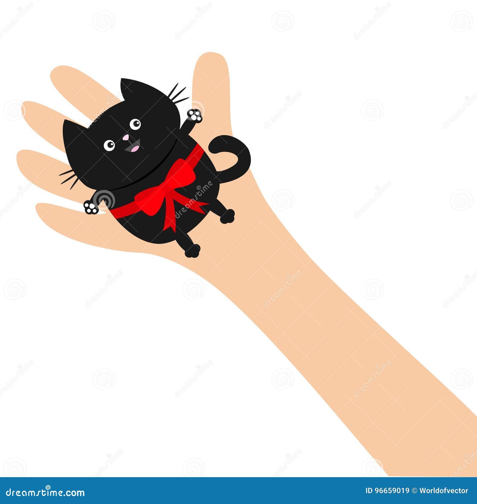 Gatto nero della tenuta mano braccio con il nastro rosso dellarco