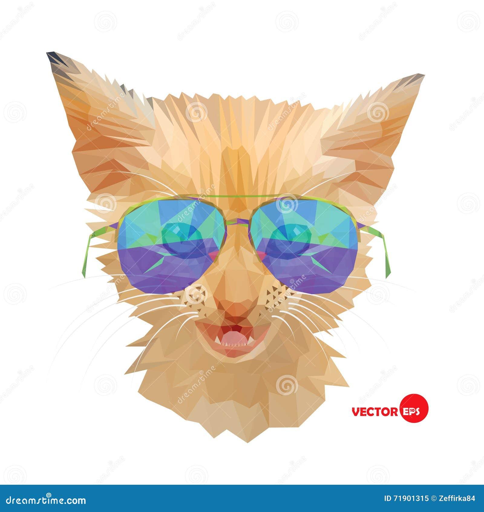 Gatto, sig. Gattino rosso in occhiali da sole, stile urbano di modo del ritratto del gatto dei pantaloni a vita bassa Schizzo div