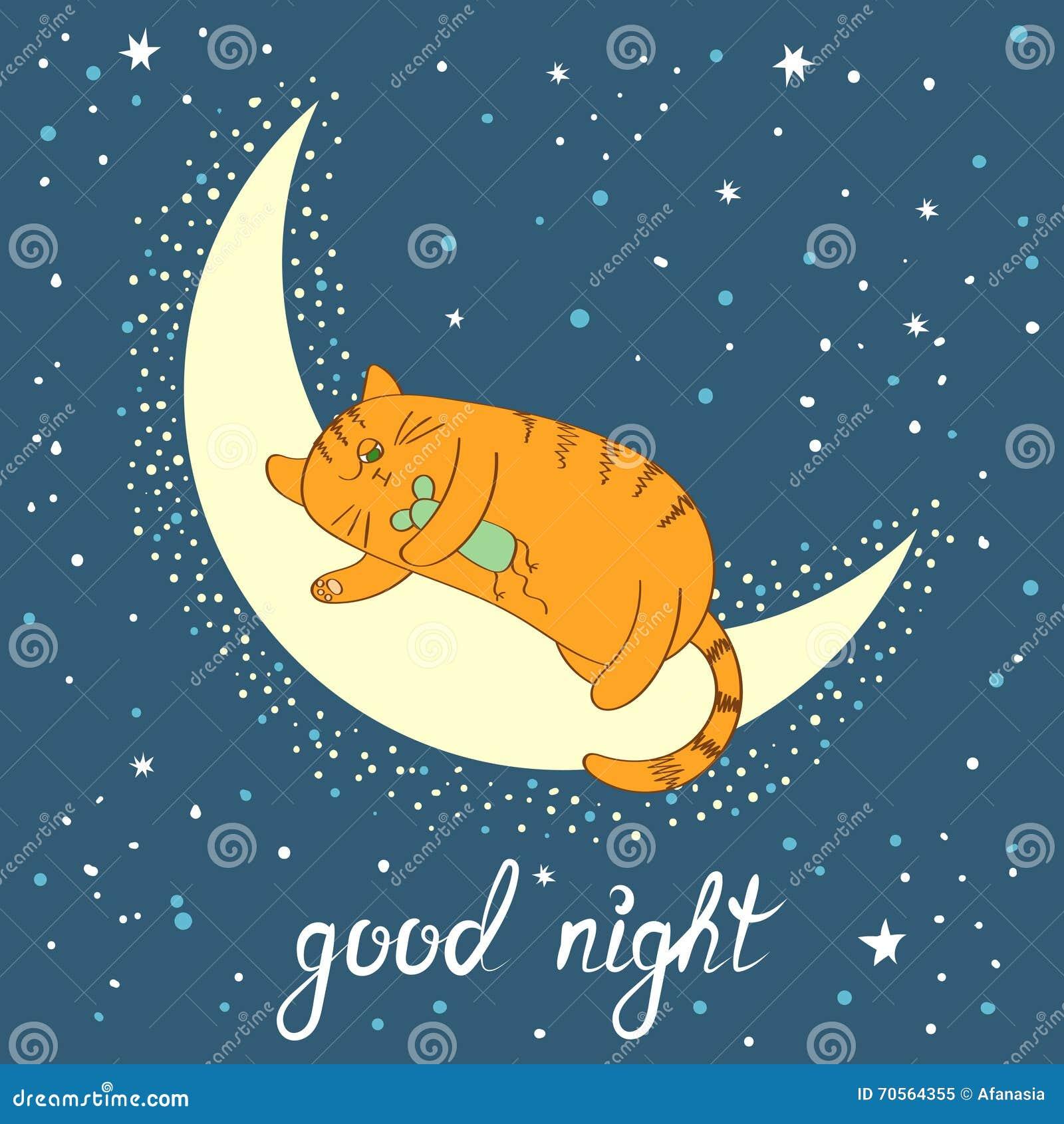 Gatto Sveglio Del Fumetto Che Dorme Sulla Luna Iscrizione