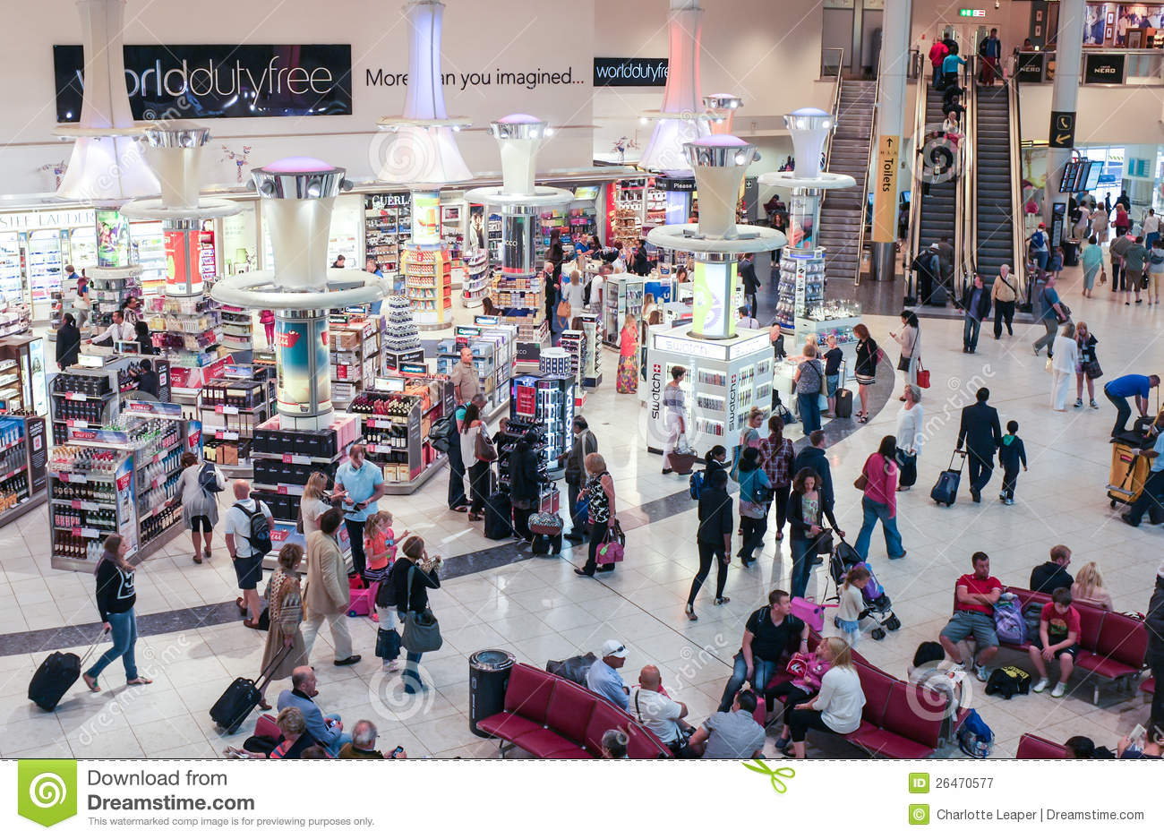 46138254605 Crowded people shopping in Duty free at Gatwick North Terminal. Commuters  and travellers with luggae and people waiting for their flights.
