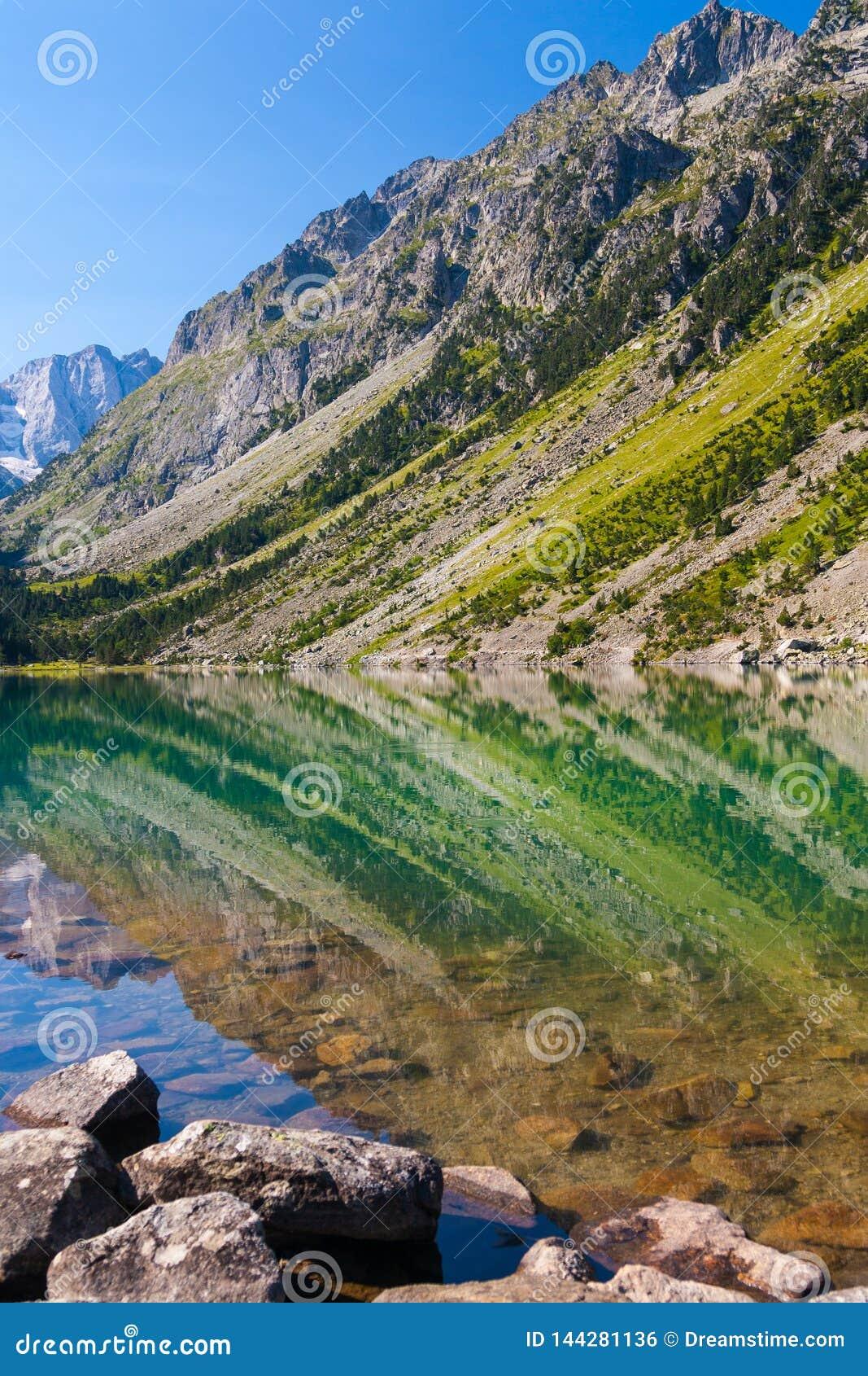 Gaube lake in Pyrenees mountain range