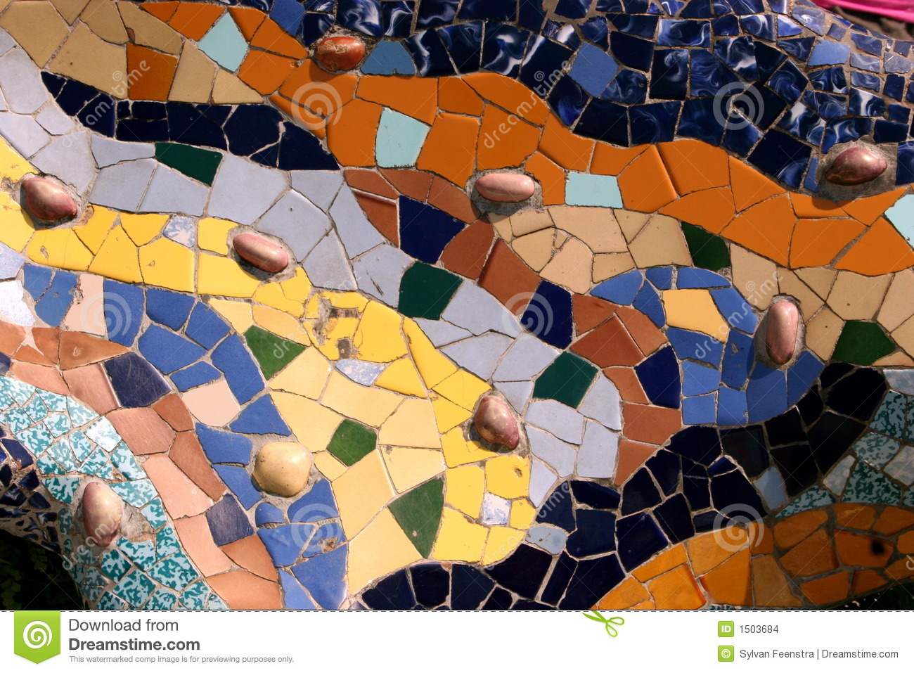 Gaudi s Park Guell in Barcelona - mosaic