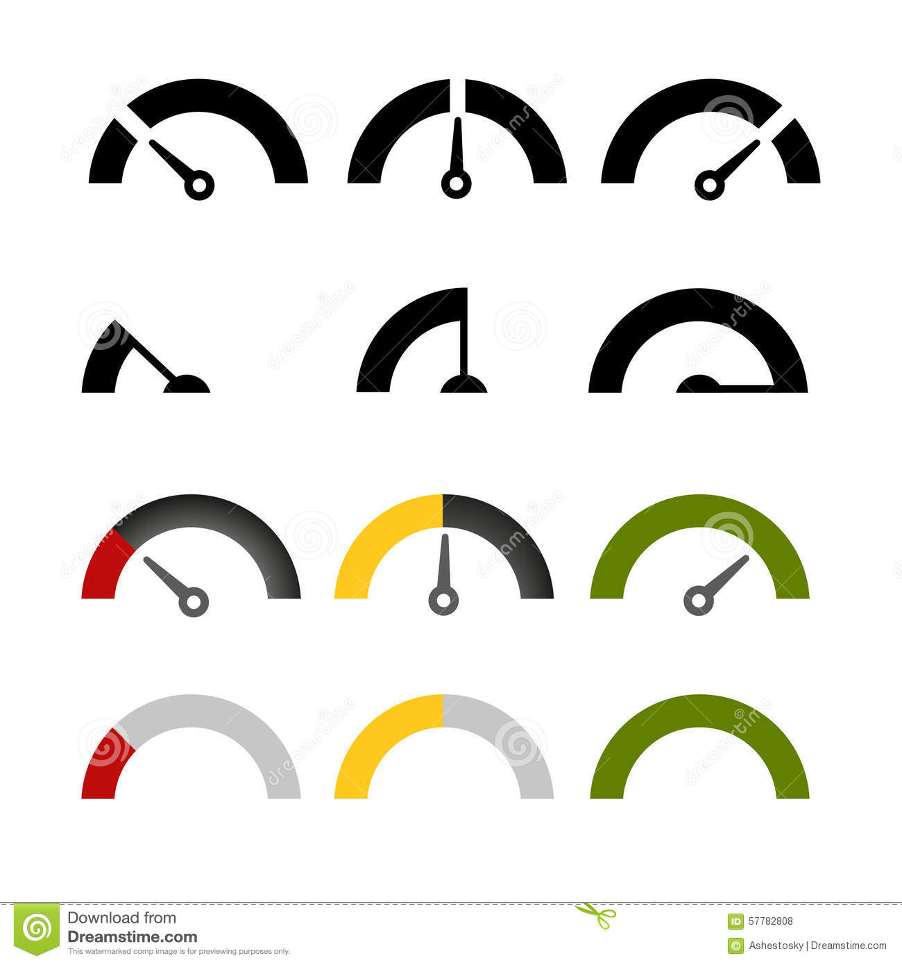 Different illustrations for different values on gauge meters from