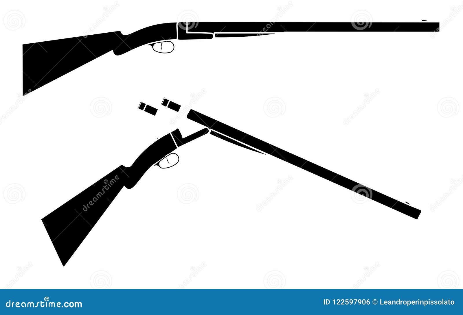 12 gauge shotgun simple black fill stock vector illustration of