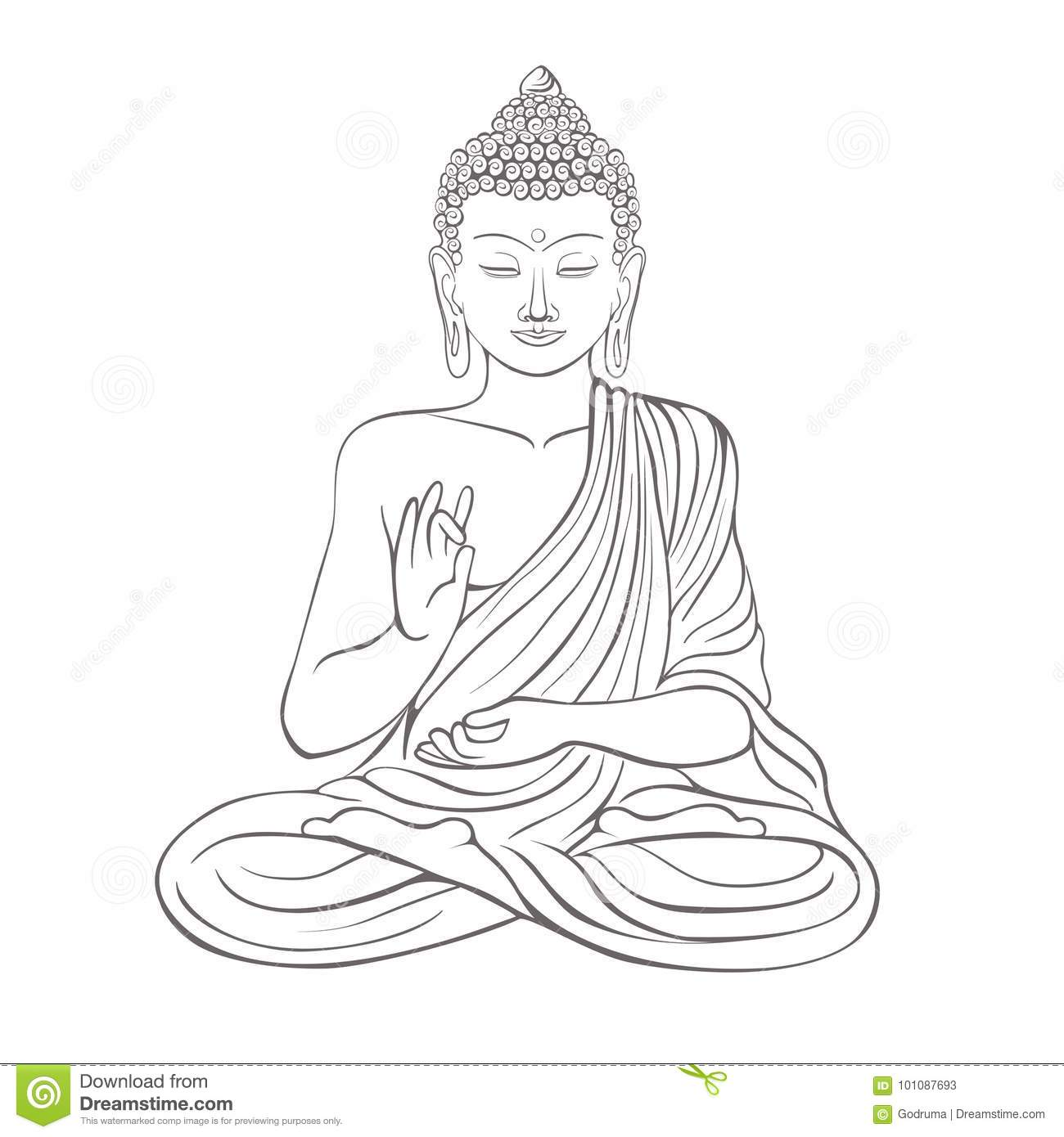 Gautama buddha with closed eyes and raised right hand sitting and meditating dressed in clothes on vector illustration isolated on white background