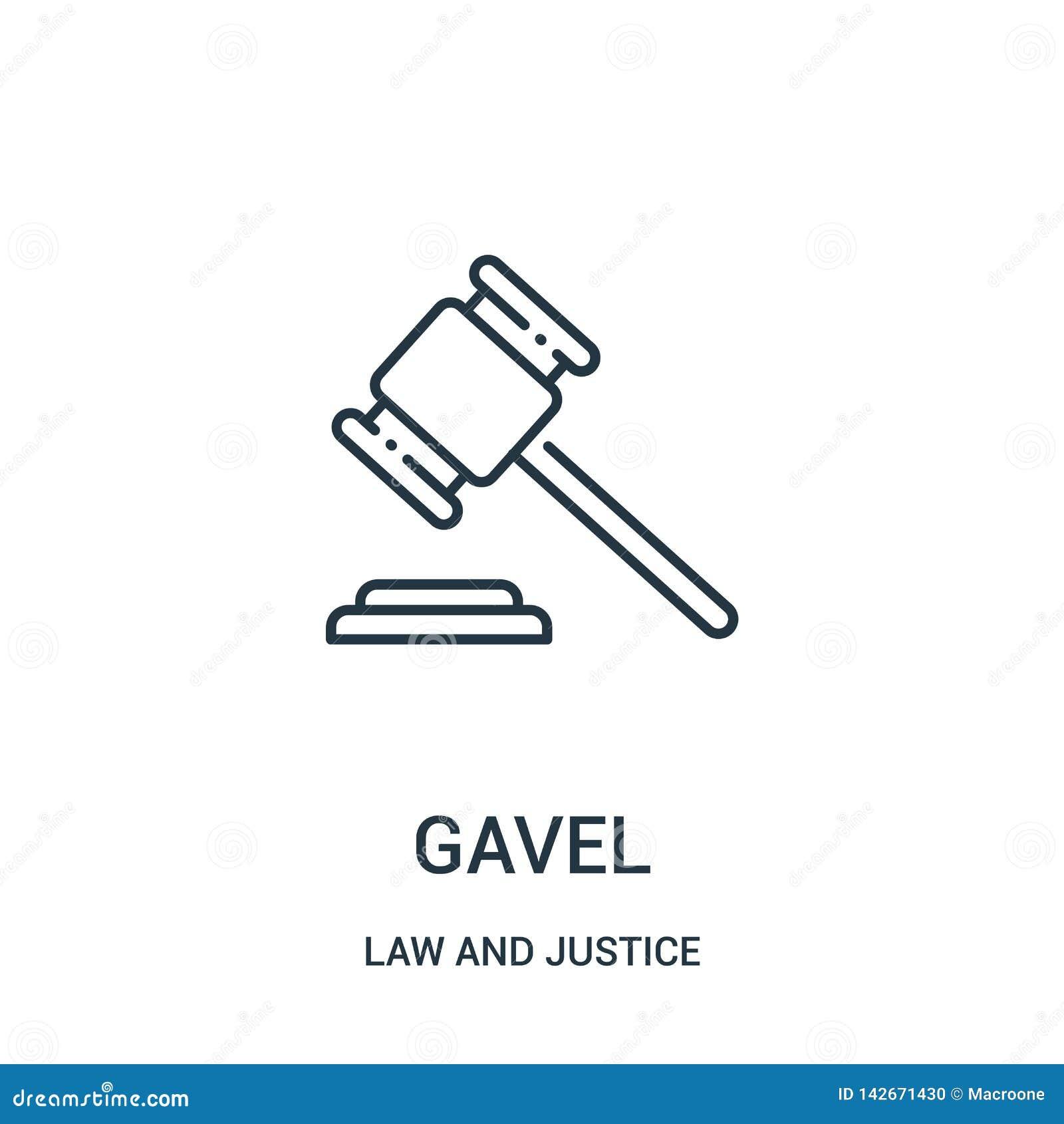 Gavel διάνυσμα εικονιδίων από τη συλλογή νόμου και δικαιοσύνης Λεπτή gavel γραμμών διανυσματική απεικόνιση εικονιδίων περιλήψεων