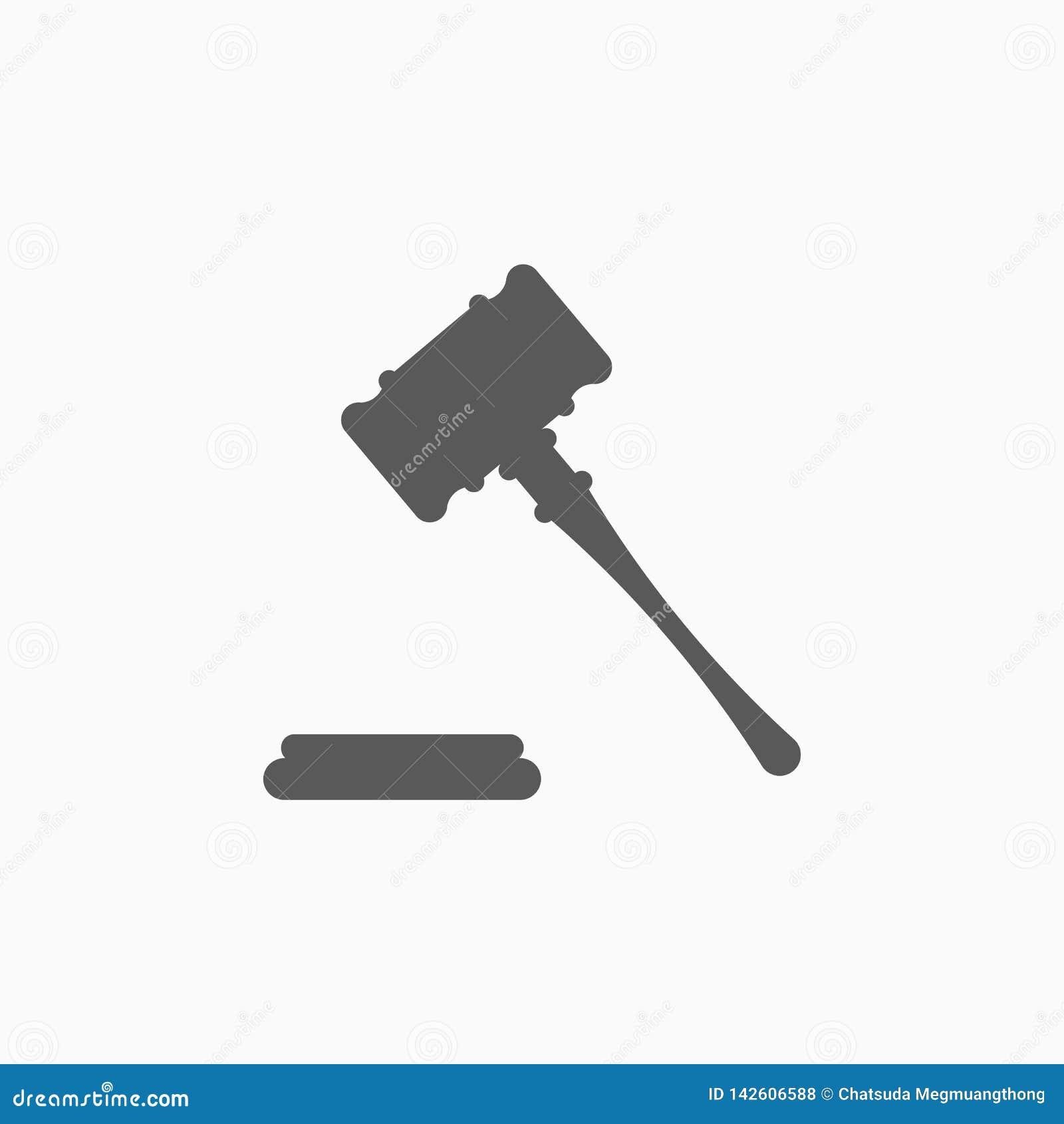 Gavel εικονίδιο, σφυρί, δικαστής, κρίση, σφυρί δημοπρασίας
