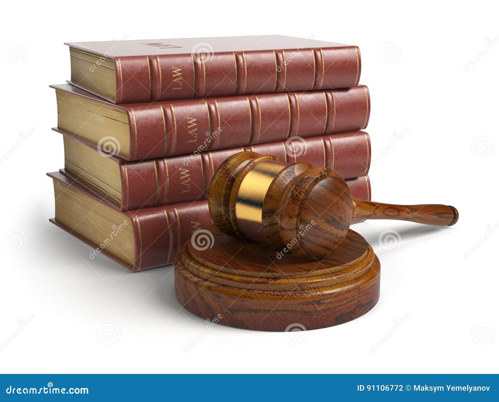 Gavel και δικηγόρων βιβλία που απομονώνονται στο λευκό Δικαιοσύνη, νόμος και νομικός