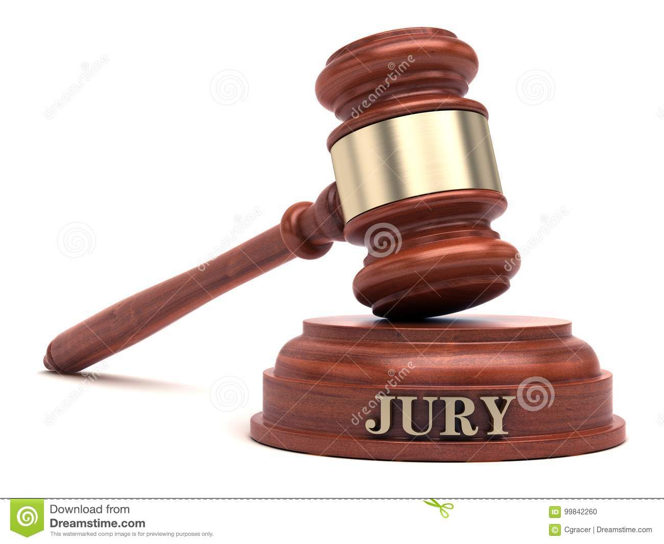 Gavel and JURY text on sound block